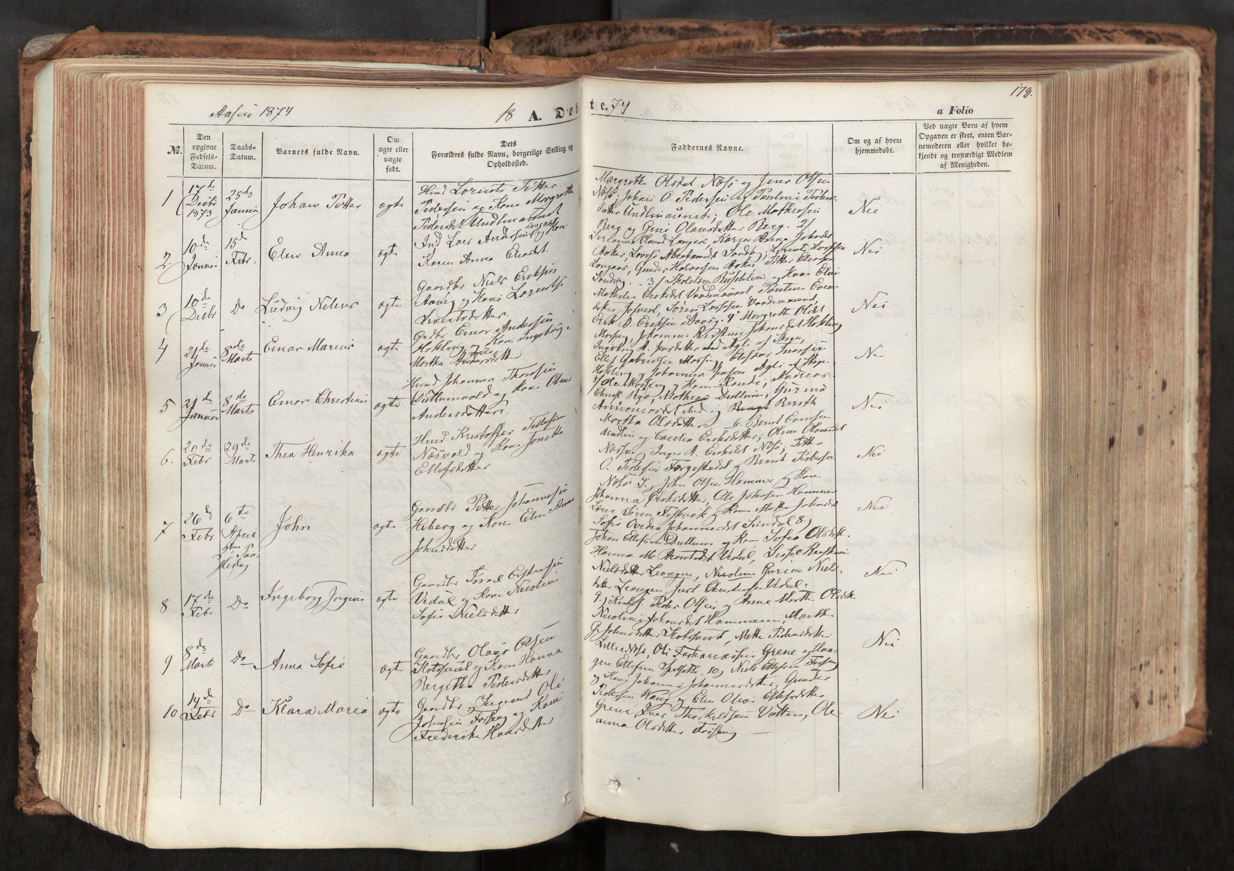 SAT, Ministerialprotokoller, klokkerbøker og fødselsregistre - Nord-Trøndelag, 713/L0116: Ministerialbok nr. 713A07, 1850-1877, s. 172