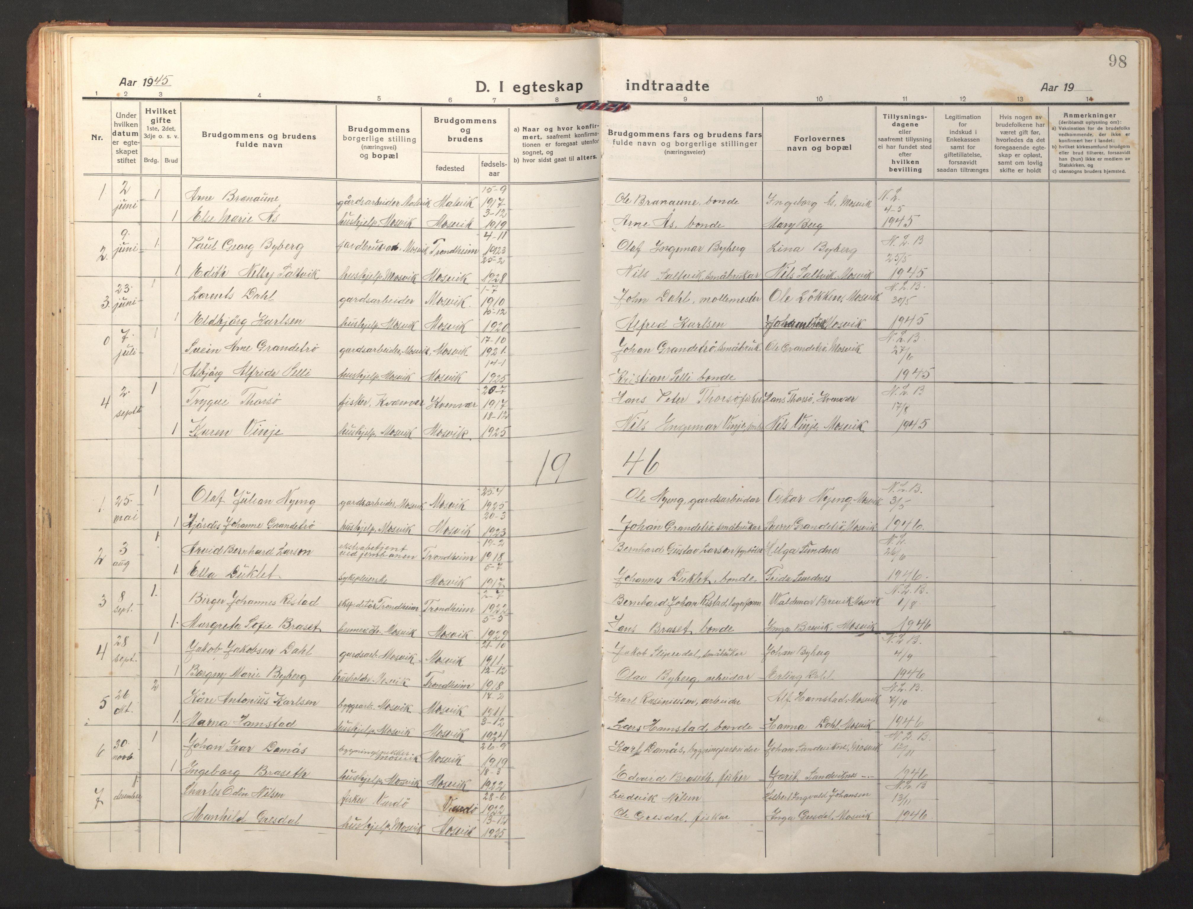 SAT, Ministerialprotokoller, klokkerbøker og fødselsregistre - Nord-Trøndelag, 733/L0328: Klokkerbok nr. 733C03, 1919-1966, s. 98