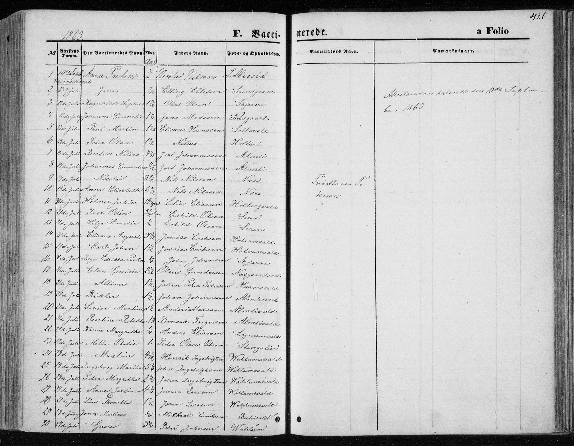 SAT, Ministerialprotokoller, klokkerbøker og fødselsregistre - Nord-Trøndelag, 717/L0157: Ministerialbok nr. 717A08 /1, 1863-1877, s. 420