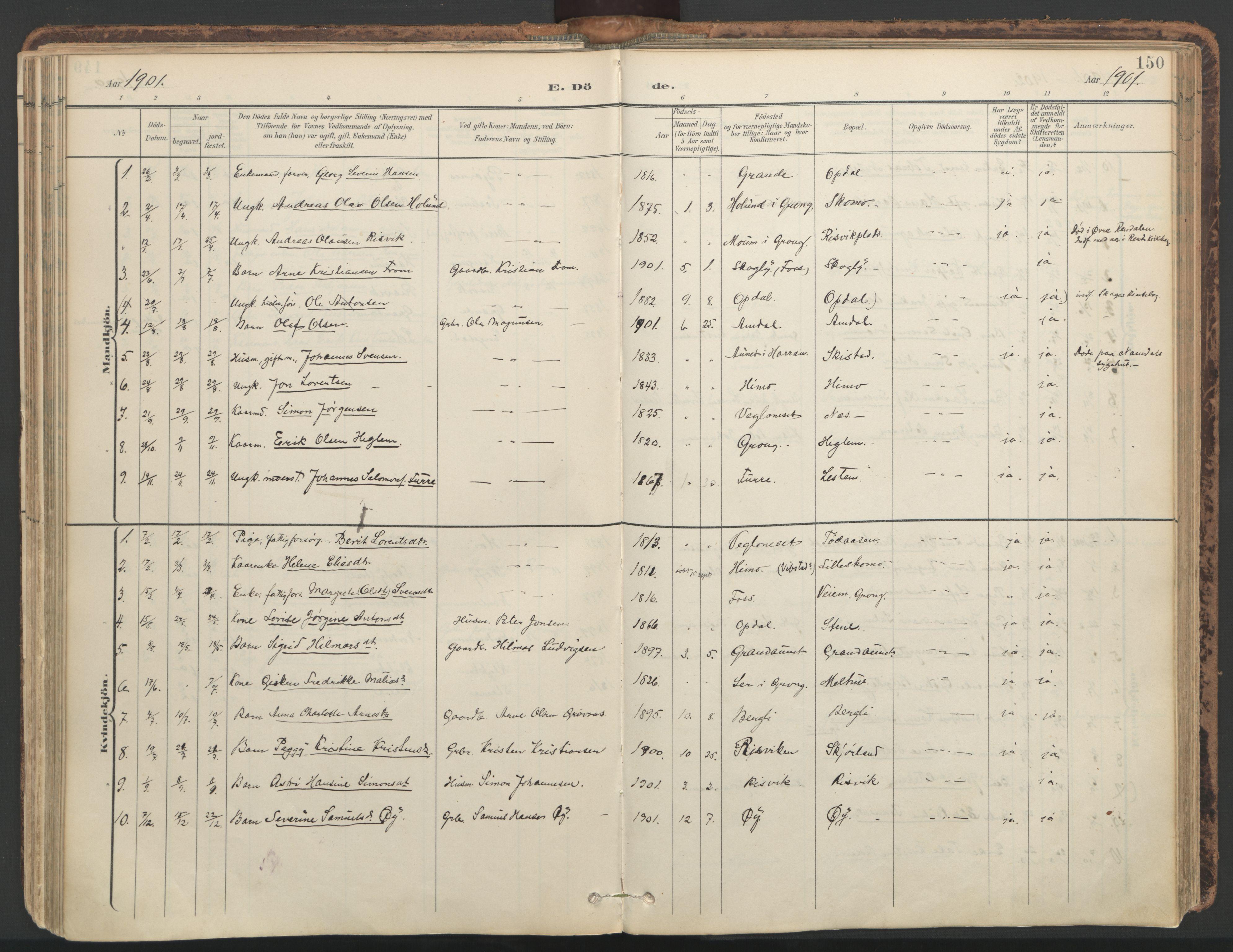 SAT, Ministerialprotokoller, klokkerbøker og fødselsregistre - Nord-Trøndelag, 764/L0556: Ministerialbok nr. 764A11, 1897-1924, s. 150