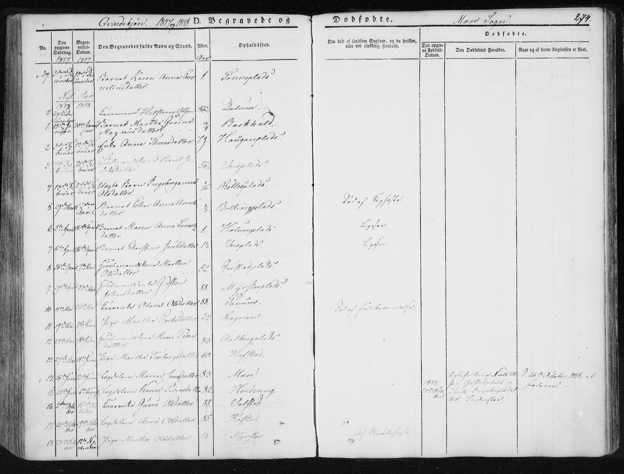 SAT, Ministerialprotokoller, klokkerbøker og fødselsregistre - Nord-Trøndelag, 735/L0339: Ministerialbok nr. 735A06 /1, 1836-1848, s. 274