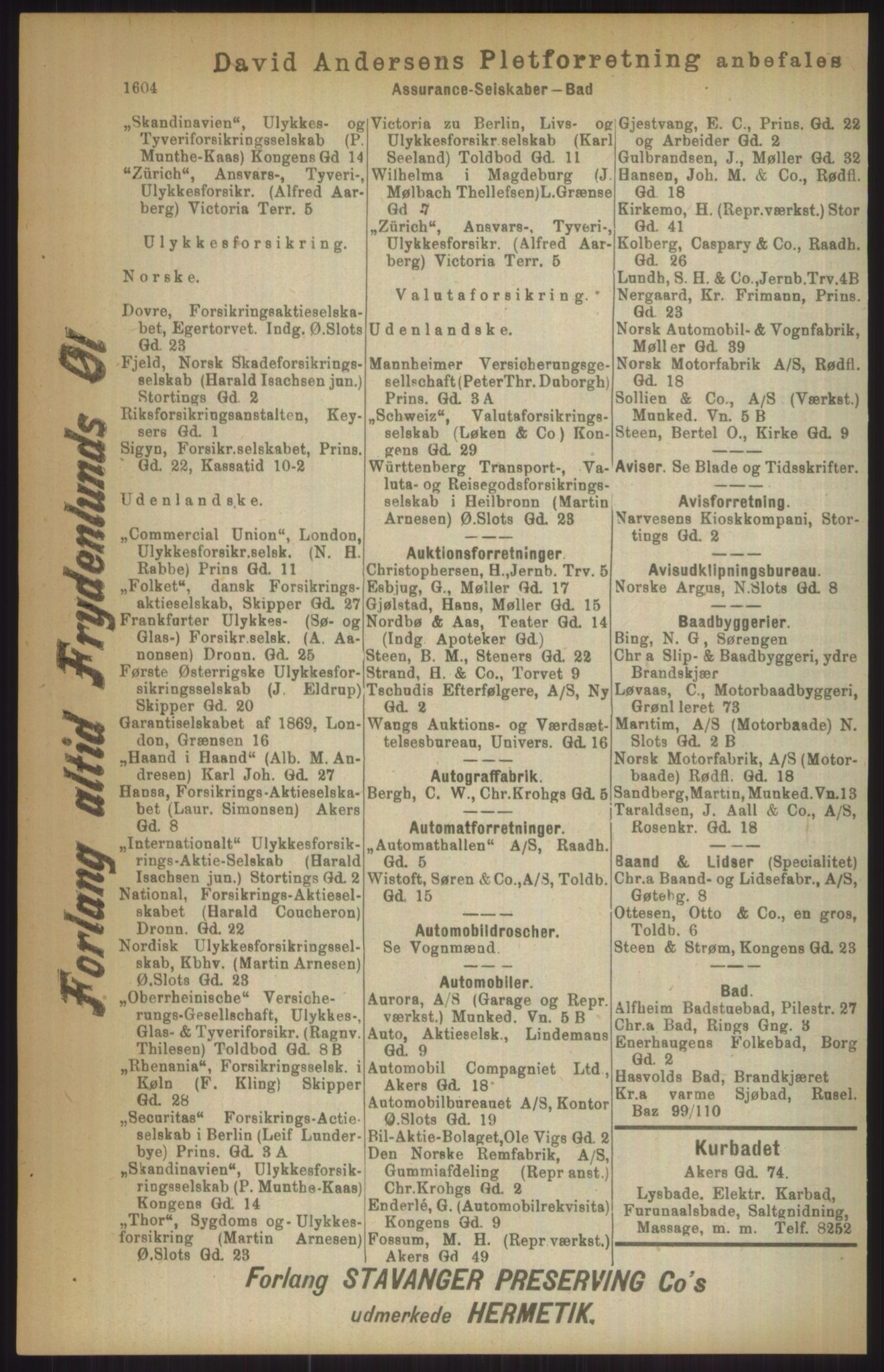 RA, Kristiania adressebok (publikasjon)*, 1911, s. 1604