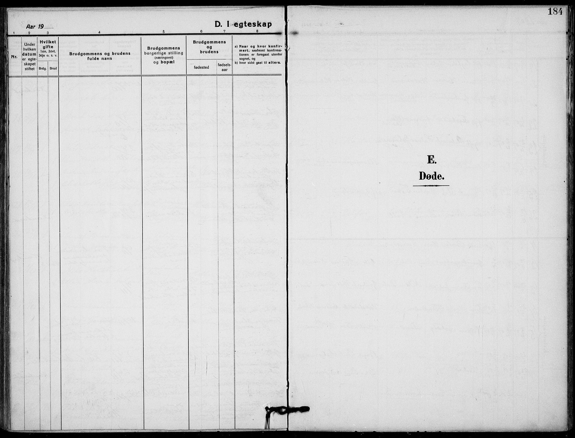 SAKO, Holla kirkebøker, F/Fa/L0012: Ministerialbok nr. 12, 1907-1923, s. 184