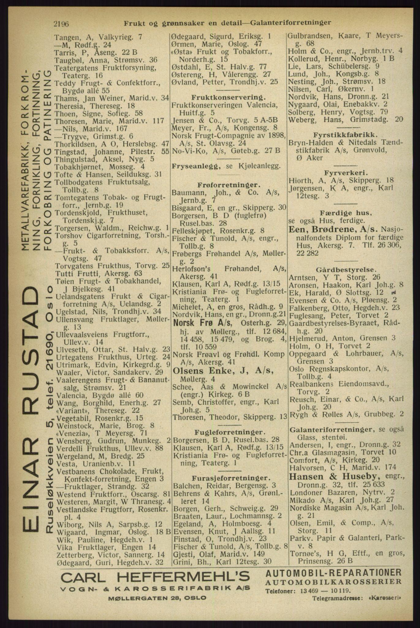 RA, Oslo adressebok (publikasjon)*, 1933, s. 2196