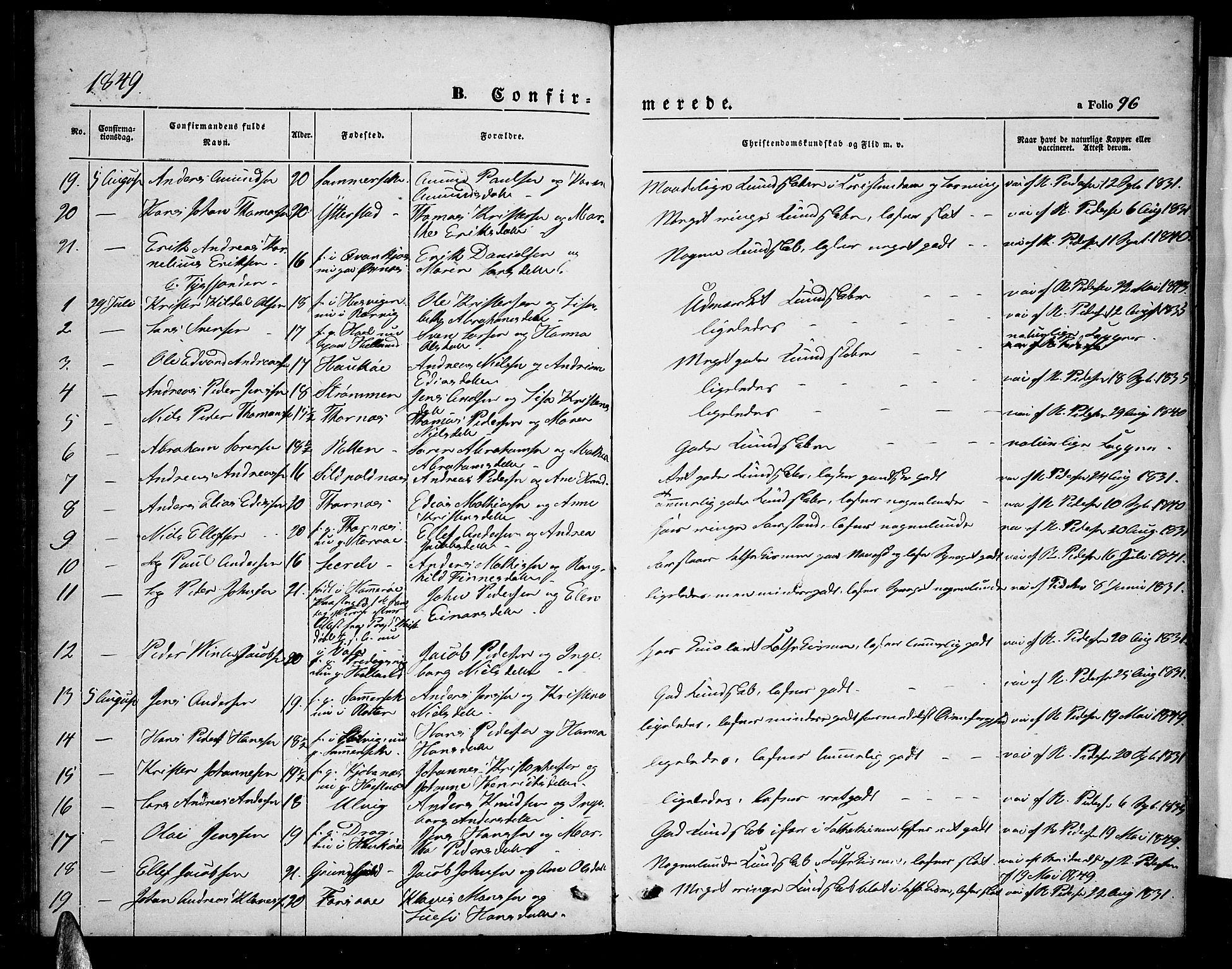 SAT, Ministerialprotokoller, klokkerbøker og fødselsregistre - Nordland, 872/L1045: Klokkerbok nr. 872C01, 1840-1851, s. 96