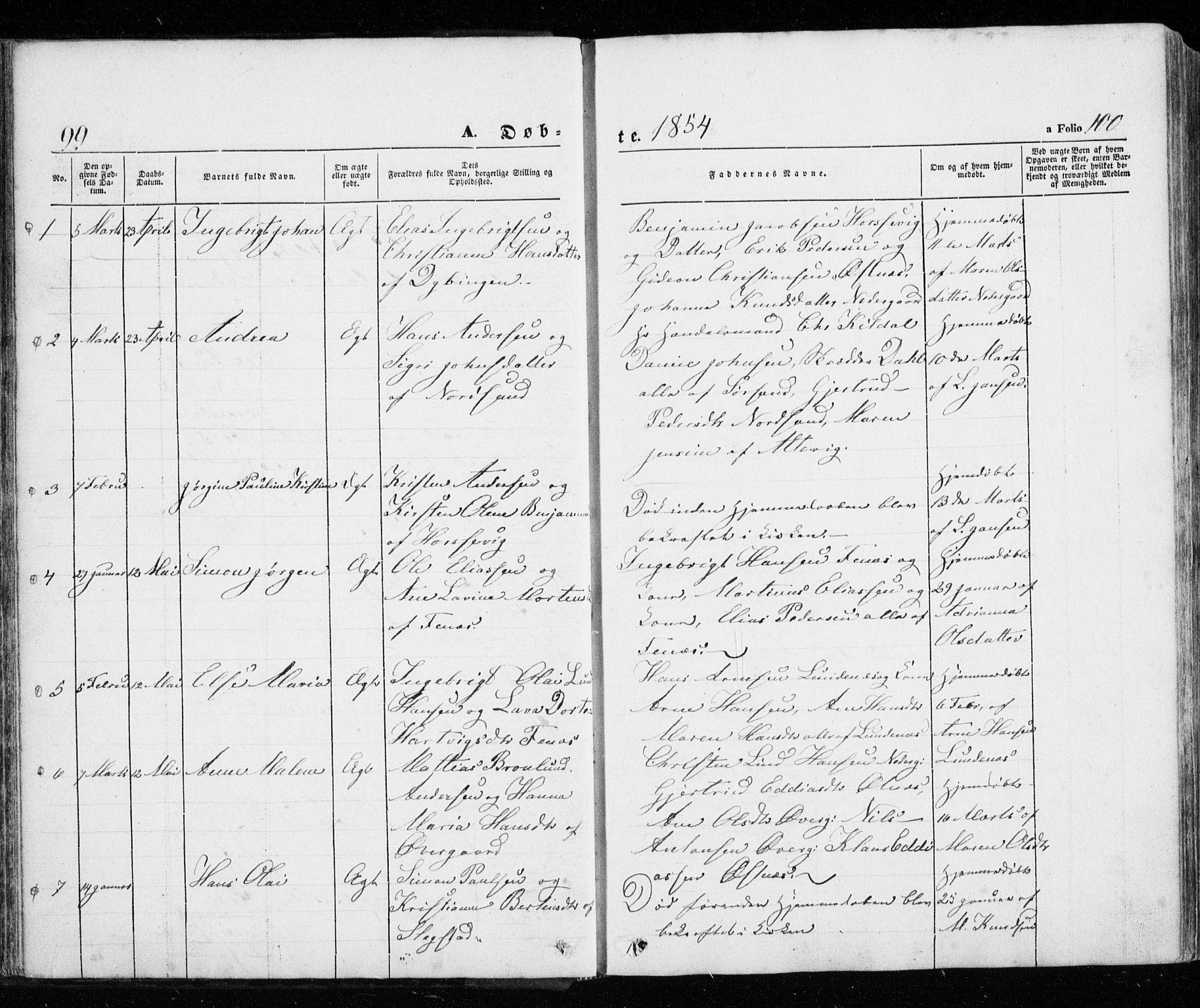 SATØ, Trondenes sokneprestkontor, H/Ha/L0010kirke: Ministerialbok nr. 10, 1840-1865, s. 99-100