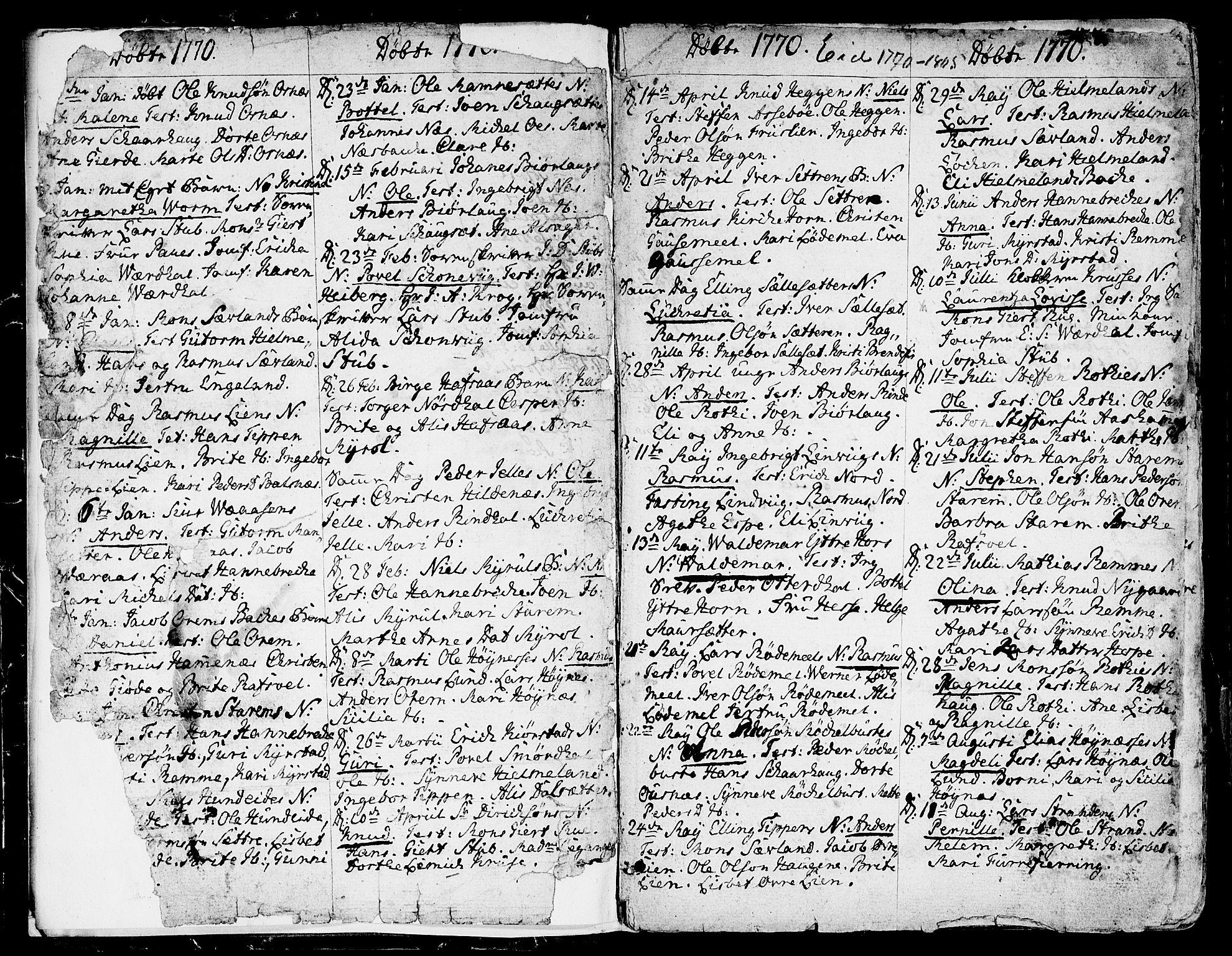 SAB, Eid Sokneprestembete, H/Haa: Ministerialbok nr. A 3, 1770-1805, s. 2