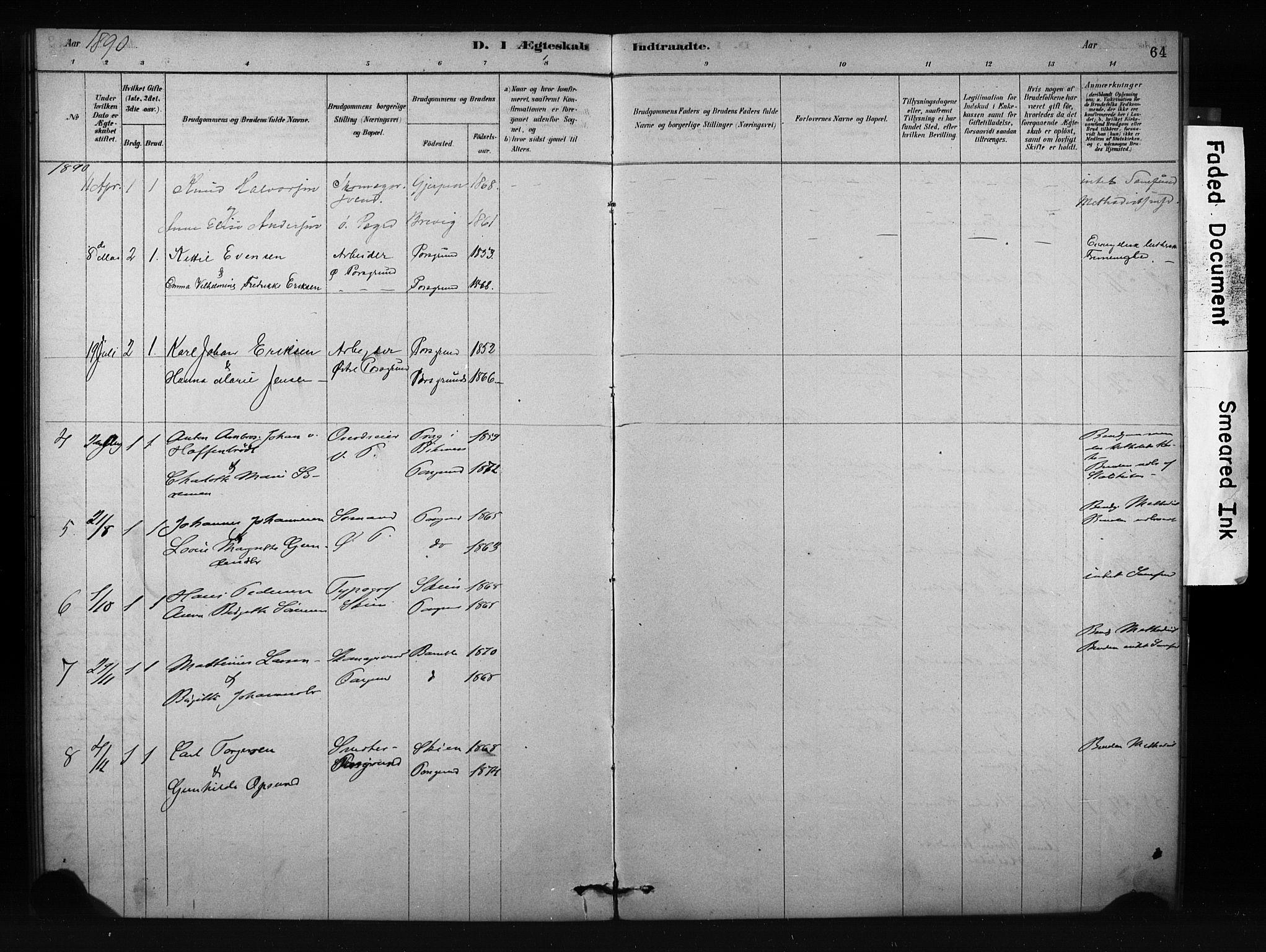 SAKO, Porsgrunn kirkebøker , F/Fa/L0009: Ministerialbok nr. 9, 1878-1923, s. 64