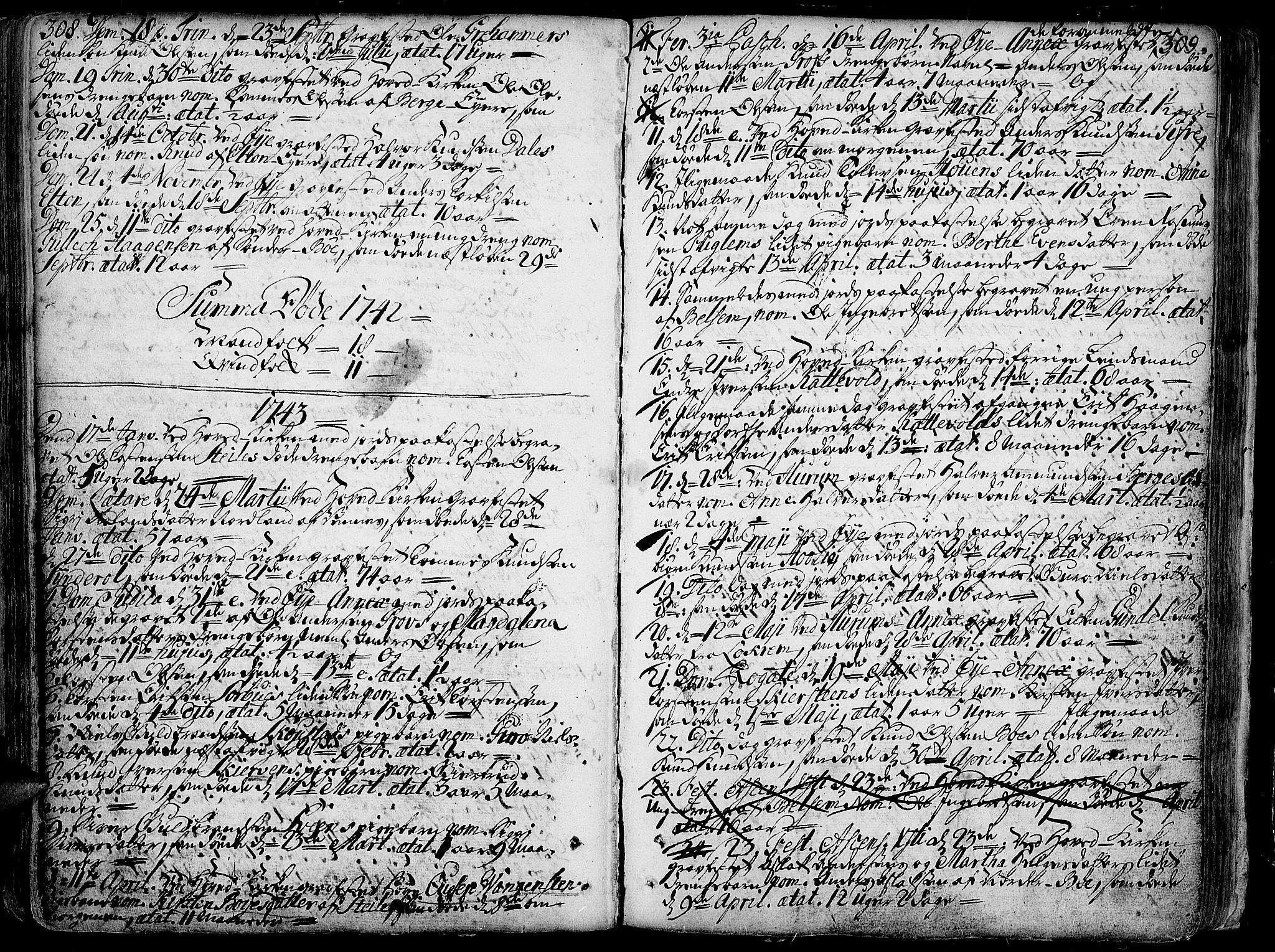 SAH, Vang prestekontor, Valdres, Ministerialbok nr. 1, 1730-1796, s. 308-309