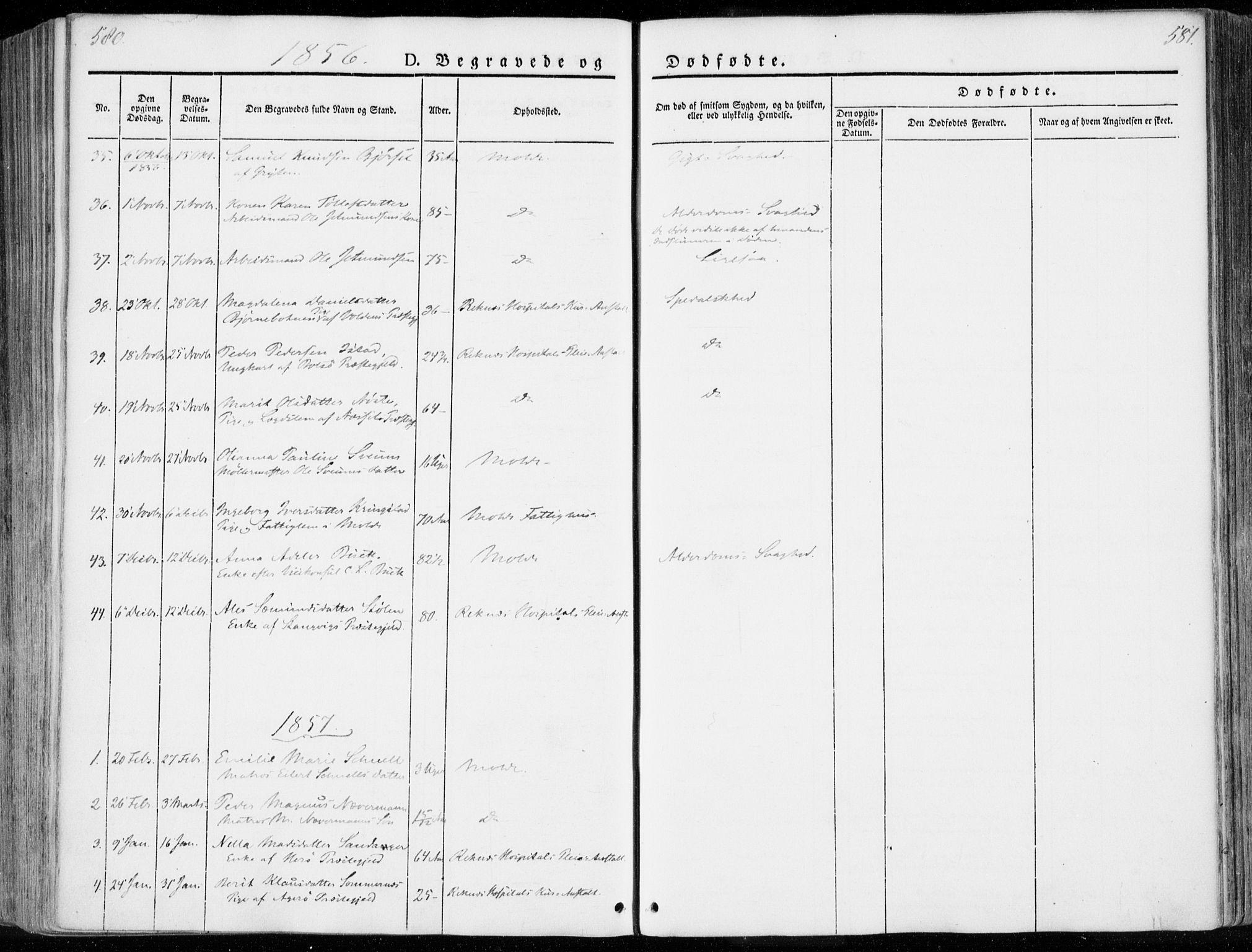 SAT, Ministerialprotokoller, klokkerbøker og fødselsregistre - Møre og Romsdal, 558/L0689: Ministerialbok nr. 558A03, 1843-1872, s. 580-581