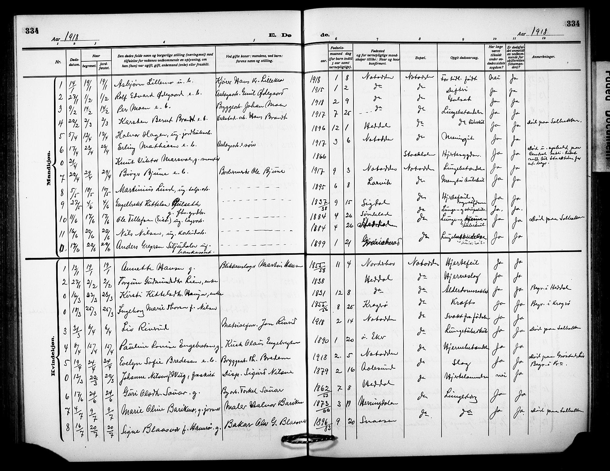 SAKO, Notodden kirkebøker, G/Ga/L0001: Klokkerbok nr. 1, 1912-1923, s. 334