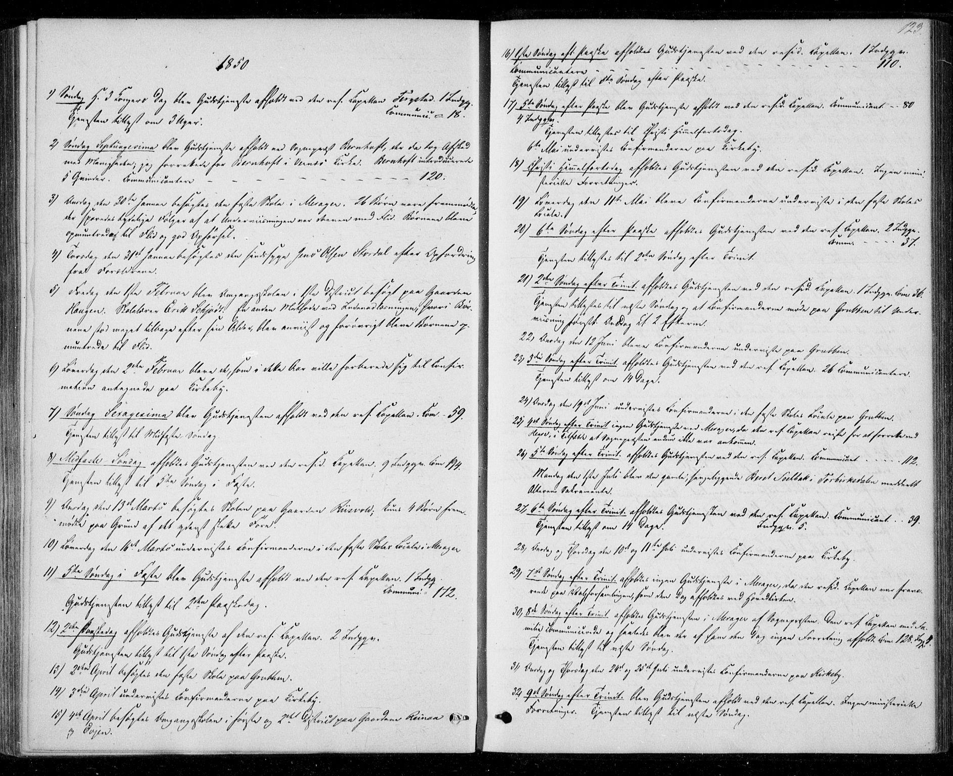 SAT, Ministerialprotokoller, klokkerbøker og fødselsregistre - Nord-Trøndelag, 706/L0040: Ministerialbok nr. 706A01, 1850-1861, s. 123