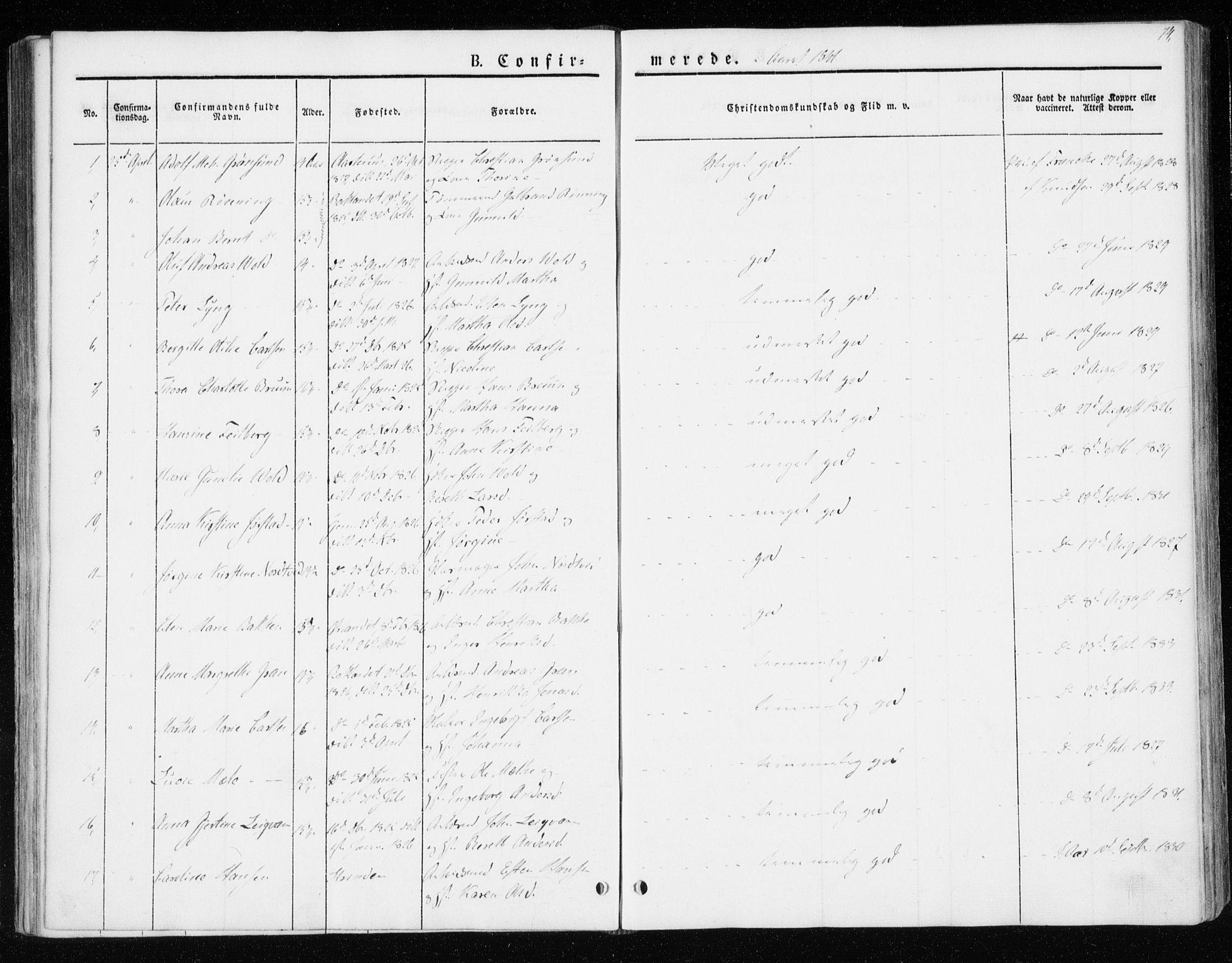 SAT, Ministerialprotokoller, klokkerbøker og fødselsregistre - Sør-Trøndelag, 604/L0183: Ministerialbok nr. 604A04, 1841-1850, s. 74