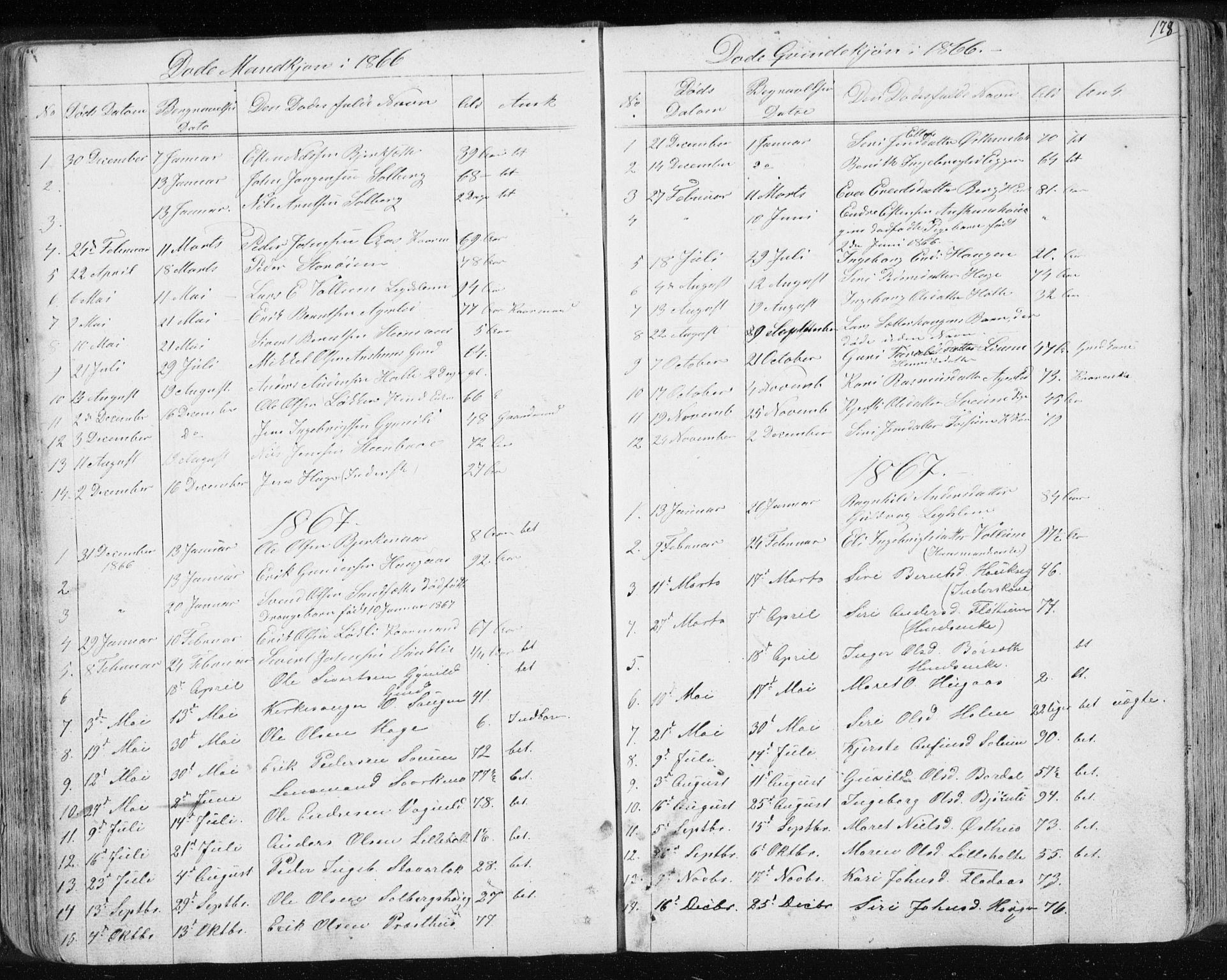 SAT, Ministerialprotokoller, klokkerbøker og fødselsregistre - Sør-Trøndelag, 689/L1043: Klokkerbok nr. 689C02, 1816-1892, s. 178