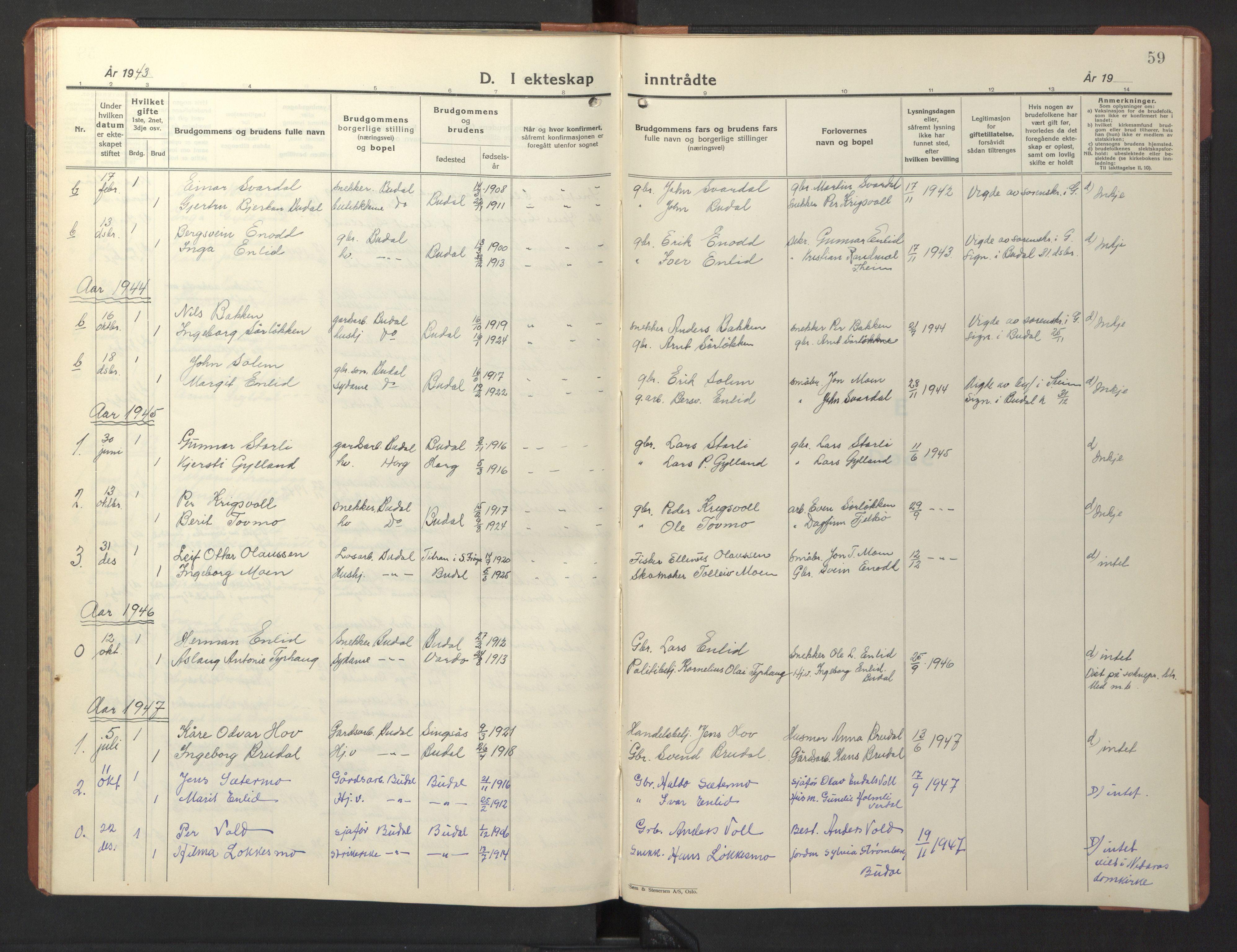SAT, Ministerialprotokoller, klokkerbøker og fødselsregistre - Sør-Trøndelag, 690/L1053: Klokkerbok nr. 690C03, 1930-1947, s. 59