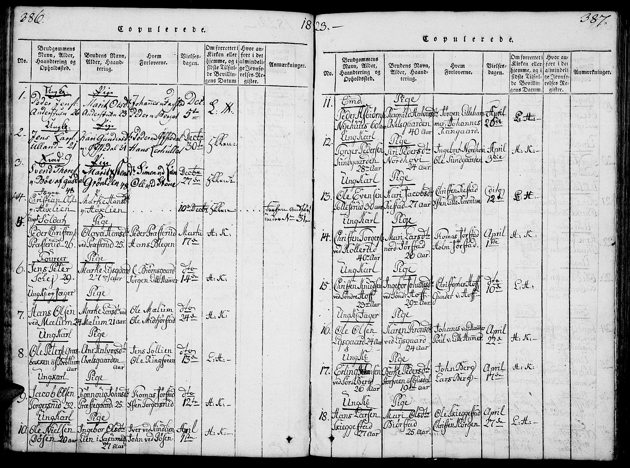 SAH, Fåberg prestekontor, Klokkerbok nr. 4, 1818-1837, s. 386-387