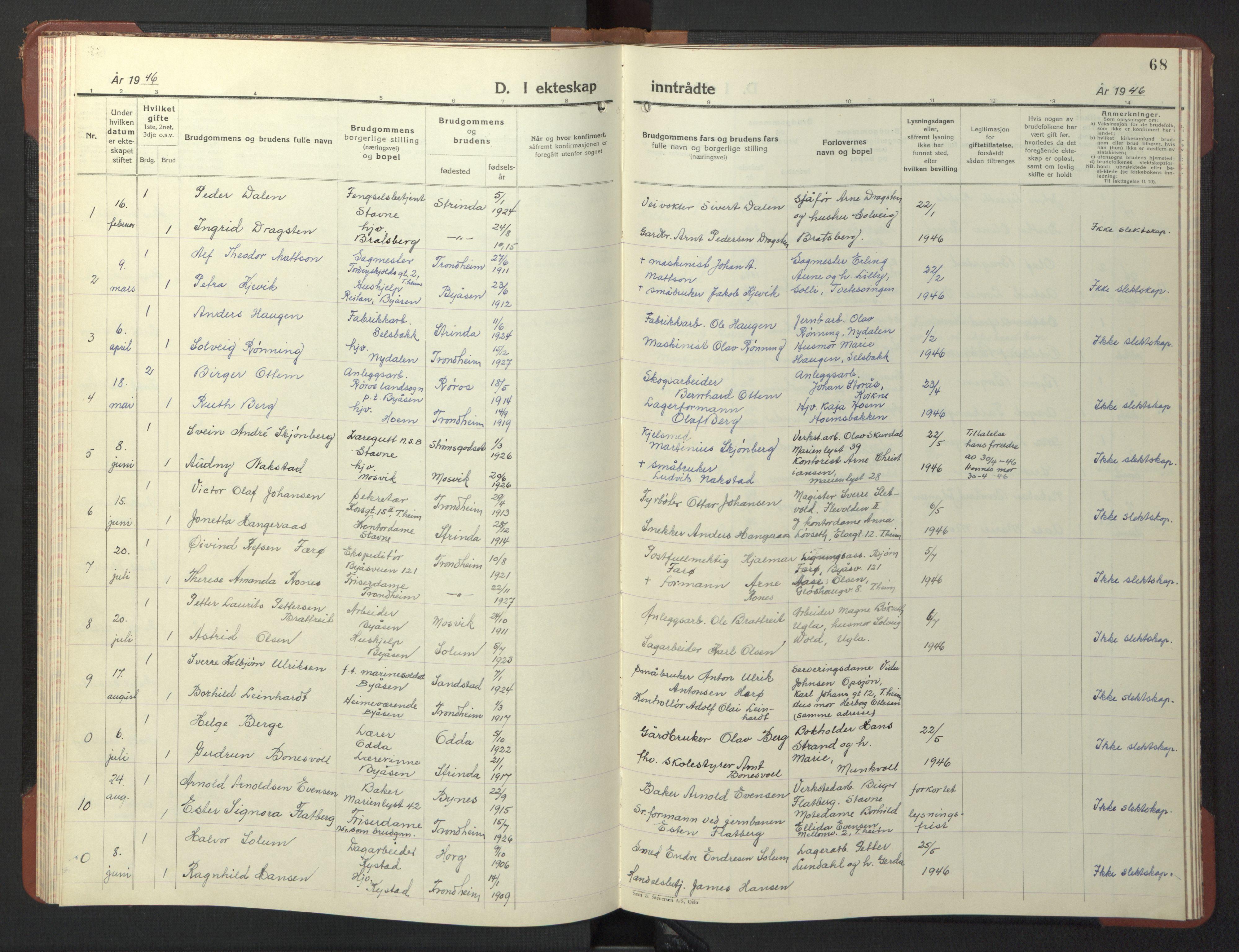 SAT, Ministerialprotokoller, klokkerbøker og fødselsregistre - Sør-Trøndelag, 611/L0358: Klokkerbok nr. 611C06, 1943-1946, s. 68