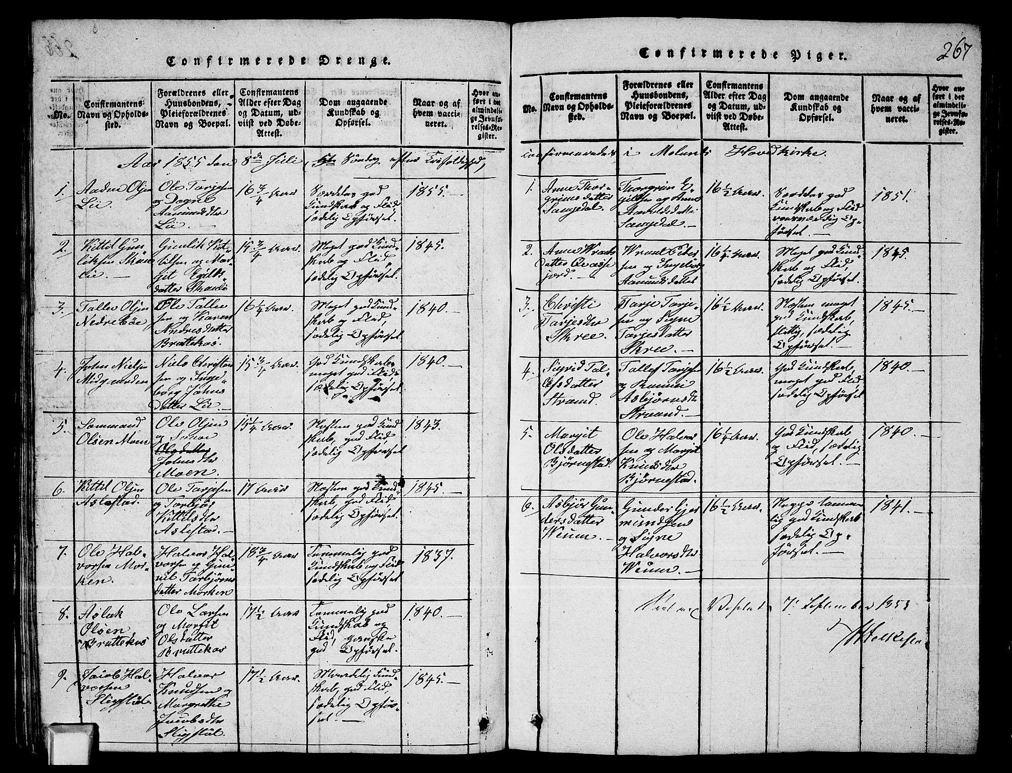 SAKO, Fyresdal kirkebøker, G/Ga/L0003: Klokkerbok nr. I 3, 1815-1863, s. 267