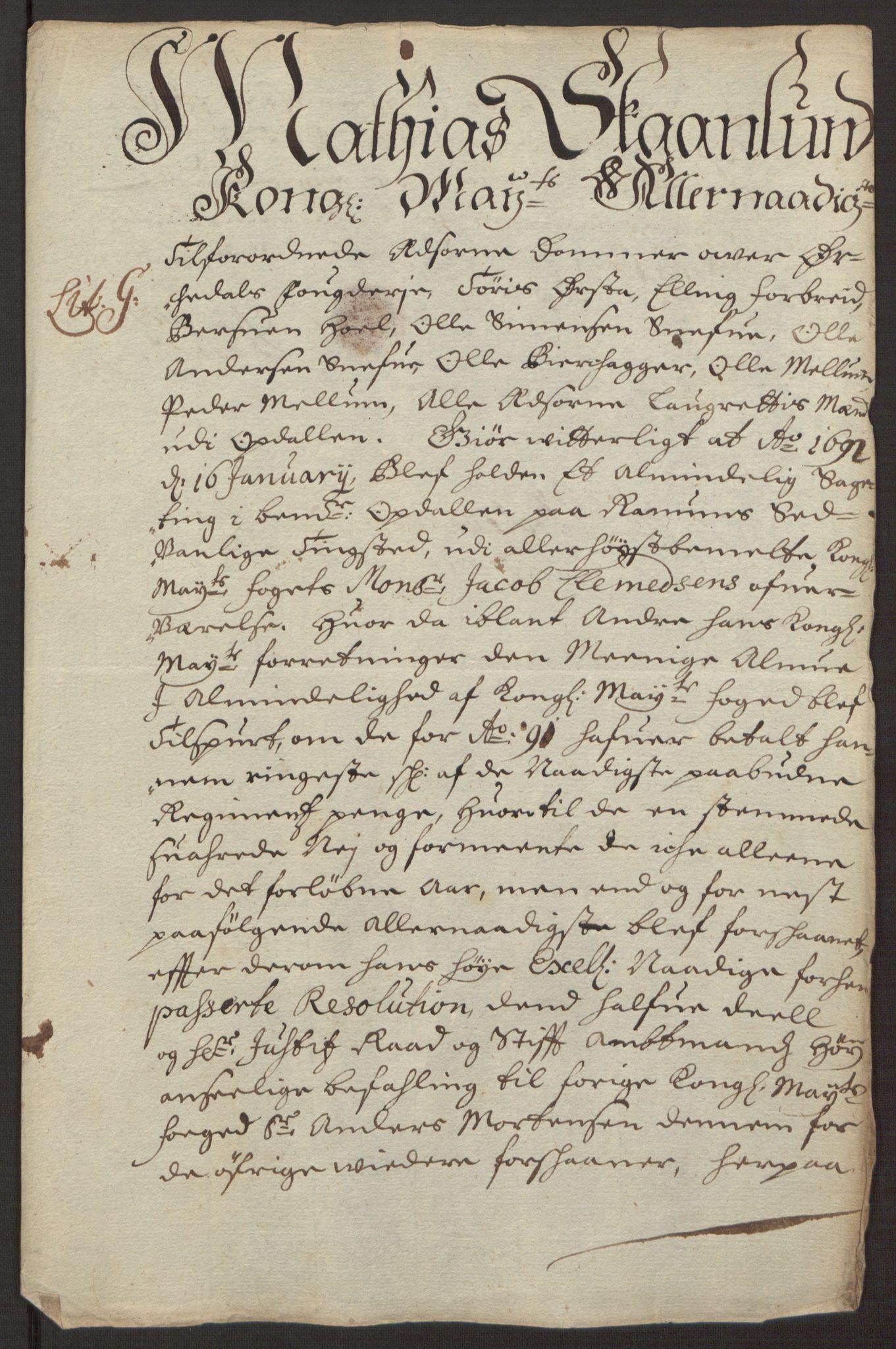 RA, Rentekammeret inntil 1814, Reviderte regnskaper, Fogderegnskap, R58/L3937: Fogderegnskap Orkdal, 1691-1692, s. 80