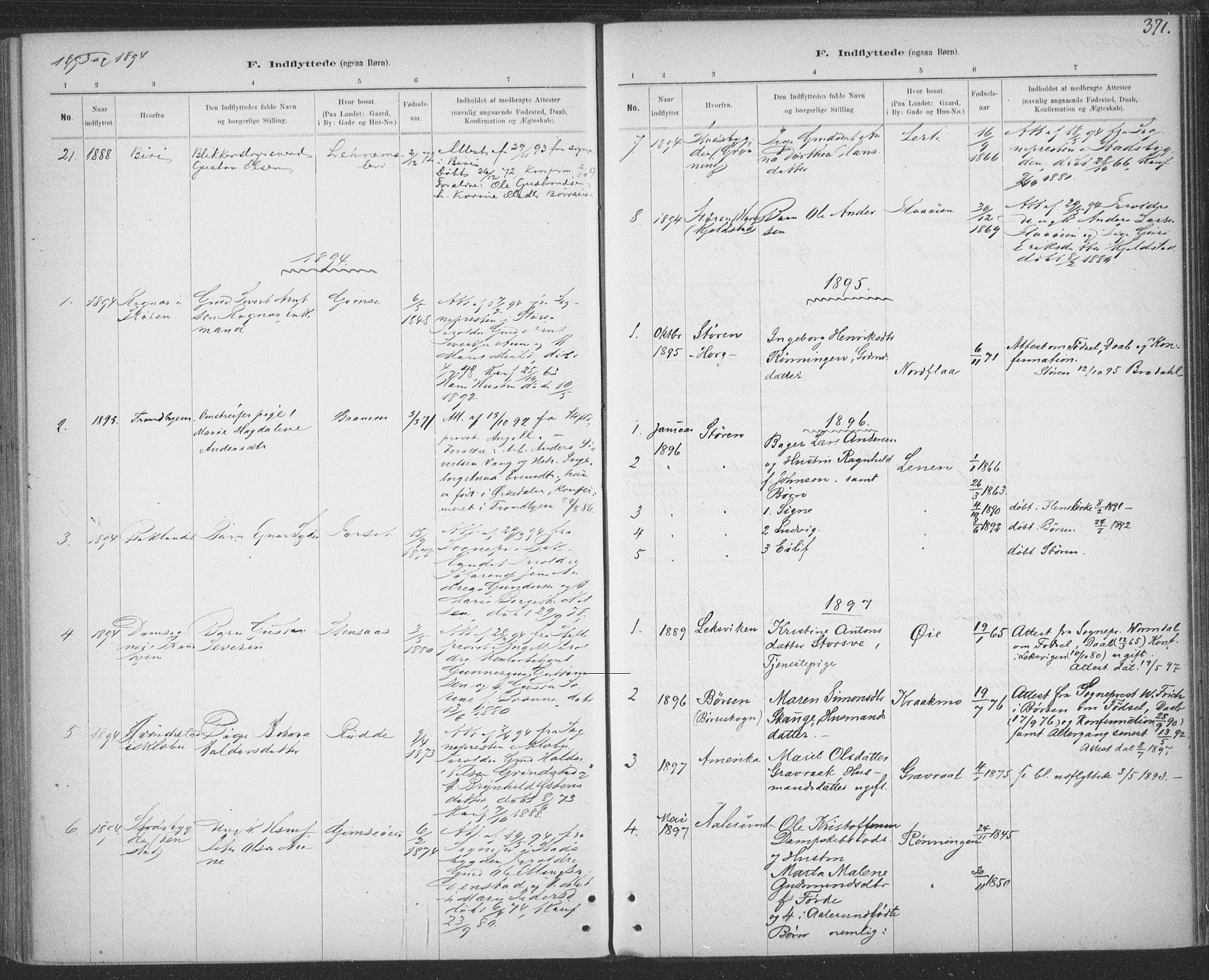 SAT, Ministerialprotokoller, klokkerbøker og fødselsregistre - Sør-Trøndelag, 691/L1085: Ministerialbok nr. 691A17, 1887-1908, s. 371