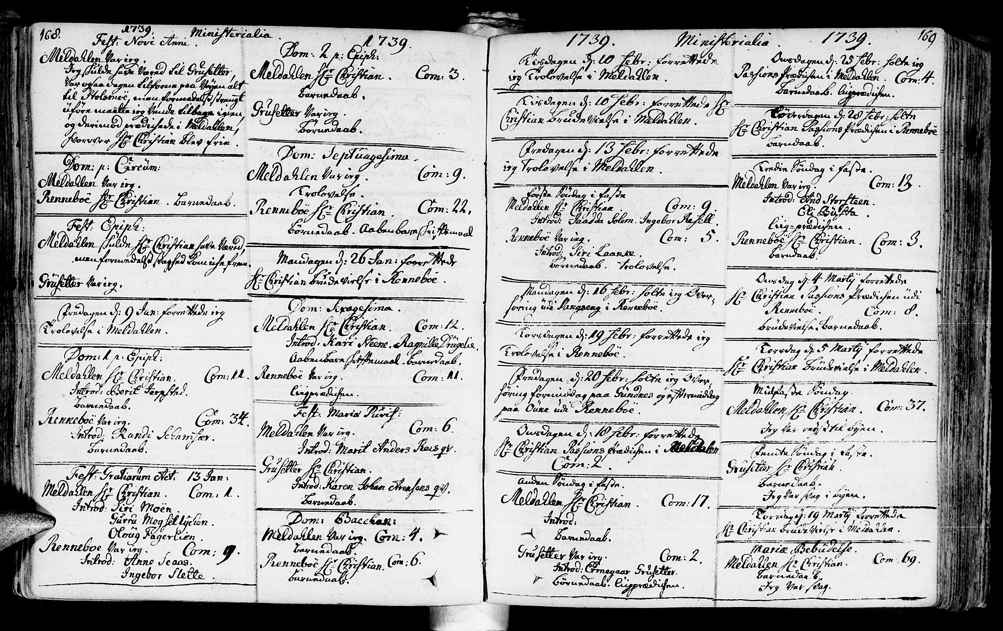 SAT, Ministerialprotokoller, klokkerbøker og fødselsregistre - Sør-Trøndelag, 672/L0850: Ministerialbok nr. 672A03, 1725-1751, s. 168-169