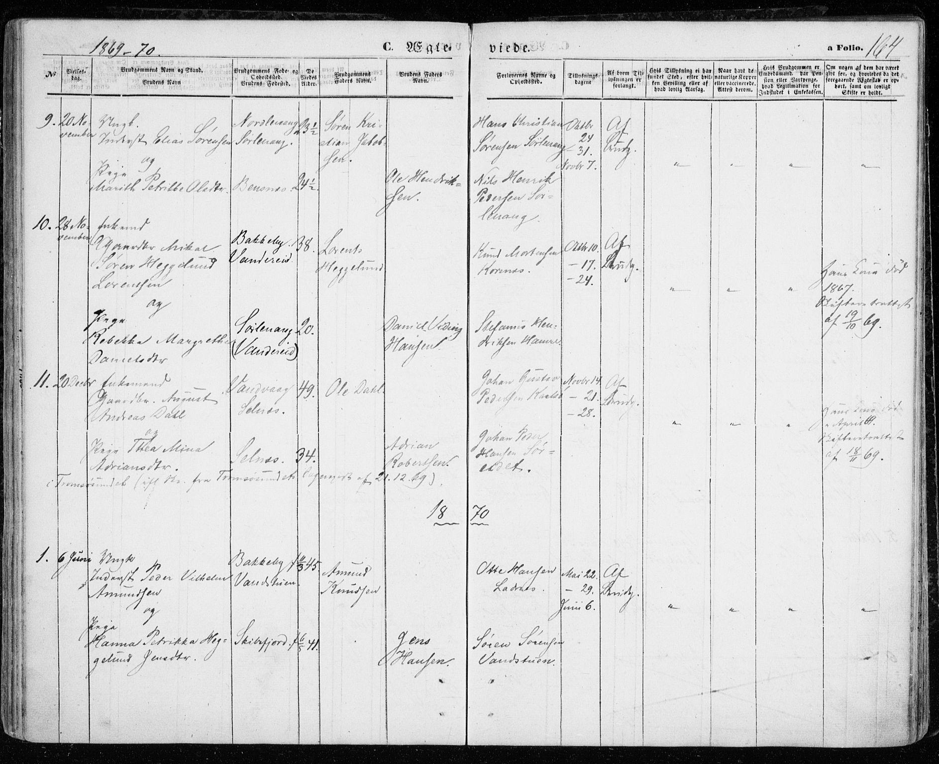SATØ, Karlsøy sokneprestembete, H/Ha/Haa/L0004kirke: Ministerialbok nr. 4, 1861-1871, s. 164
