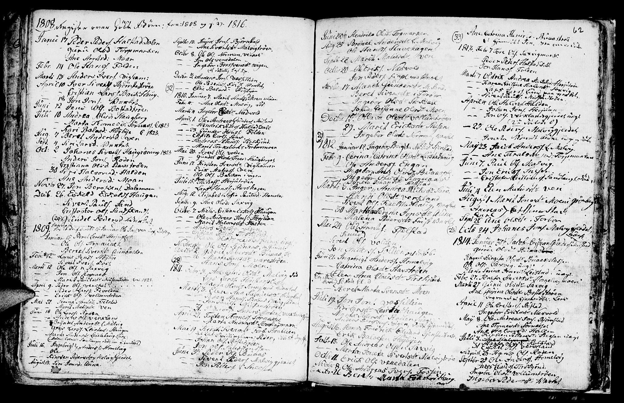 SAT, Ministerialprotokoller, klokkerbøker og fødselsregistre - Sør-Trøndelag, 616/L0419: Klokkerbok nr. 616C02, 1797-1816, s. 62