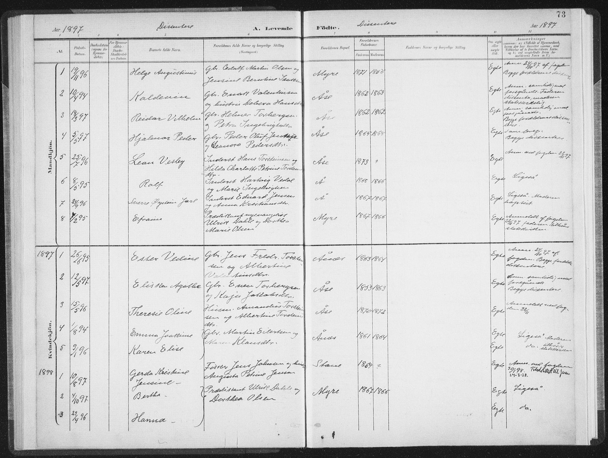SAT, Ministerialprotokoller, klokkerbøker og fødselsregistre - Nordland, 897/L1400: Ministerialbok nr. 897A07, 1897-1908, s. 73