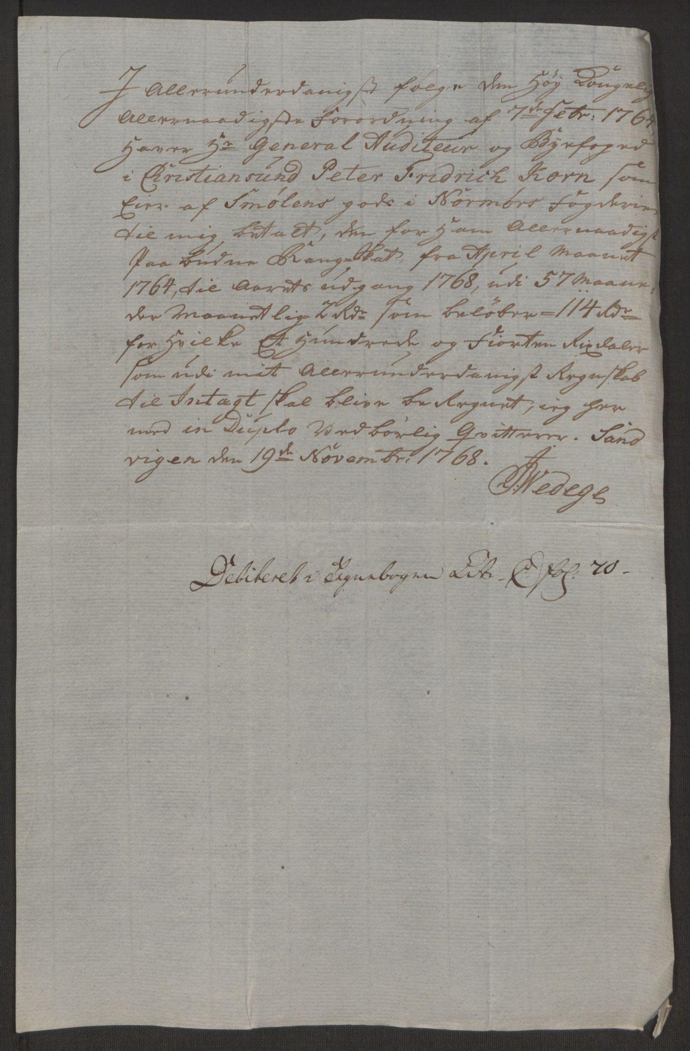 RA, Rentekammeret inntil 1814, Reviderte regnskaper, Byregnskaper, R/Rr/L0495: [R1] Kontribusjonsregnskap, 1762-1772, s. 145