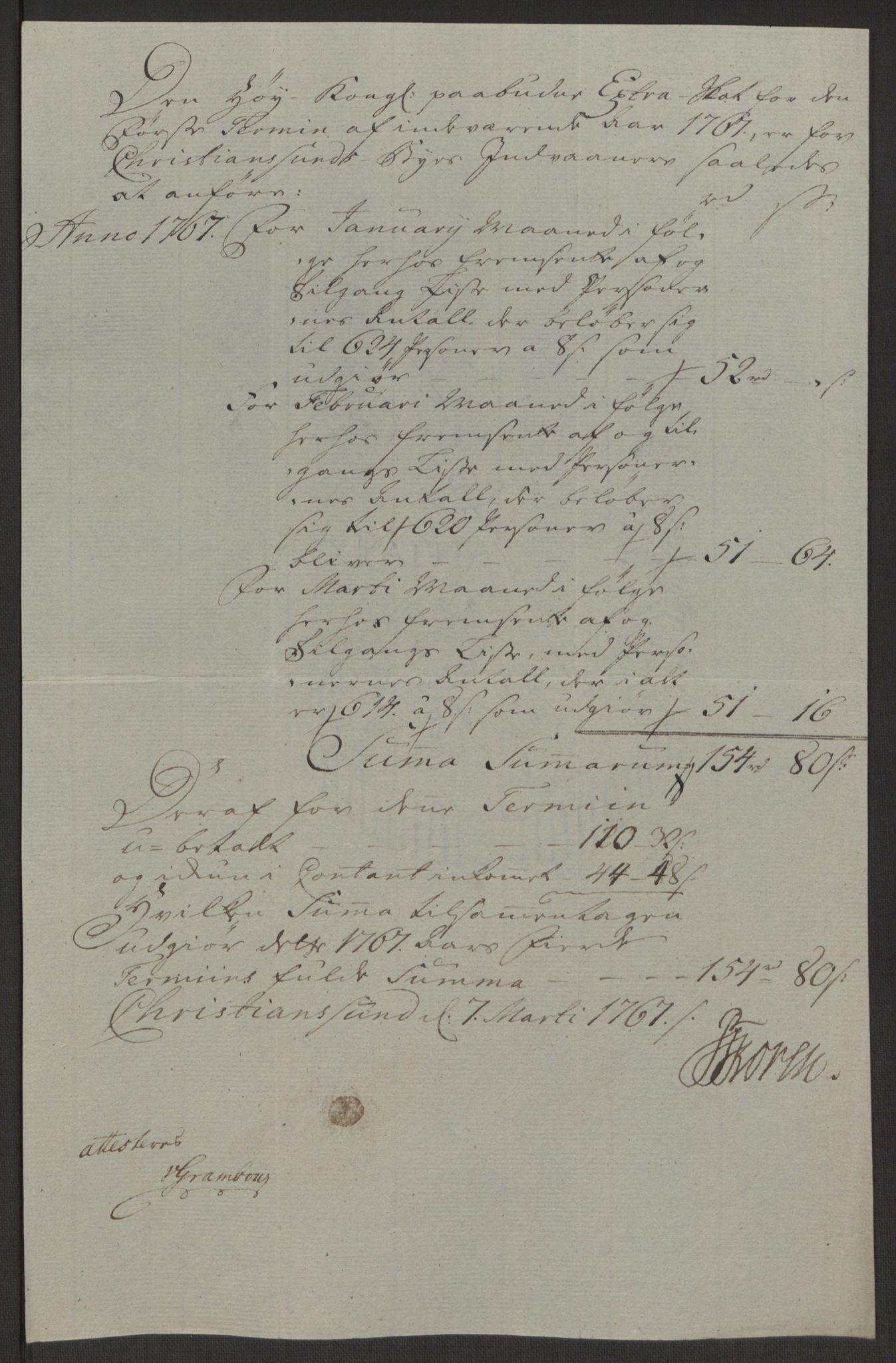RA, Rentekammeret inntil 1814, Reviderte regnskaper, Byregnskaper, R/Rr/L0495: [R1] Kontribusjonsregnskap, 1762-1772, s. 137