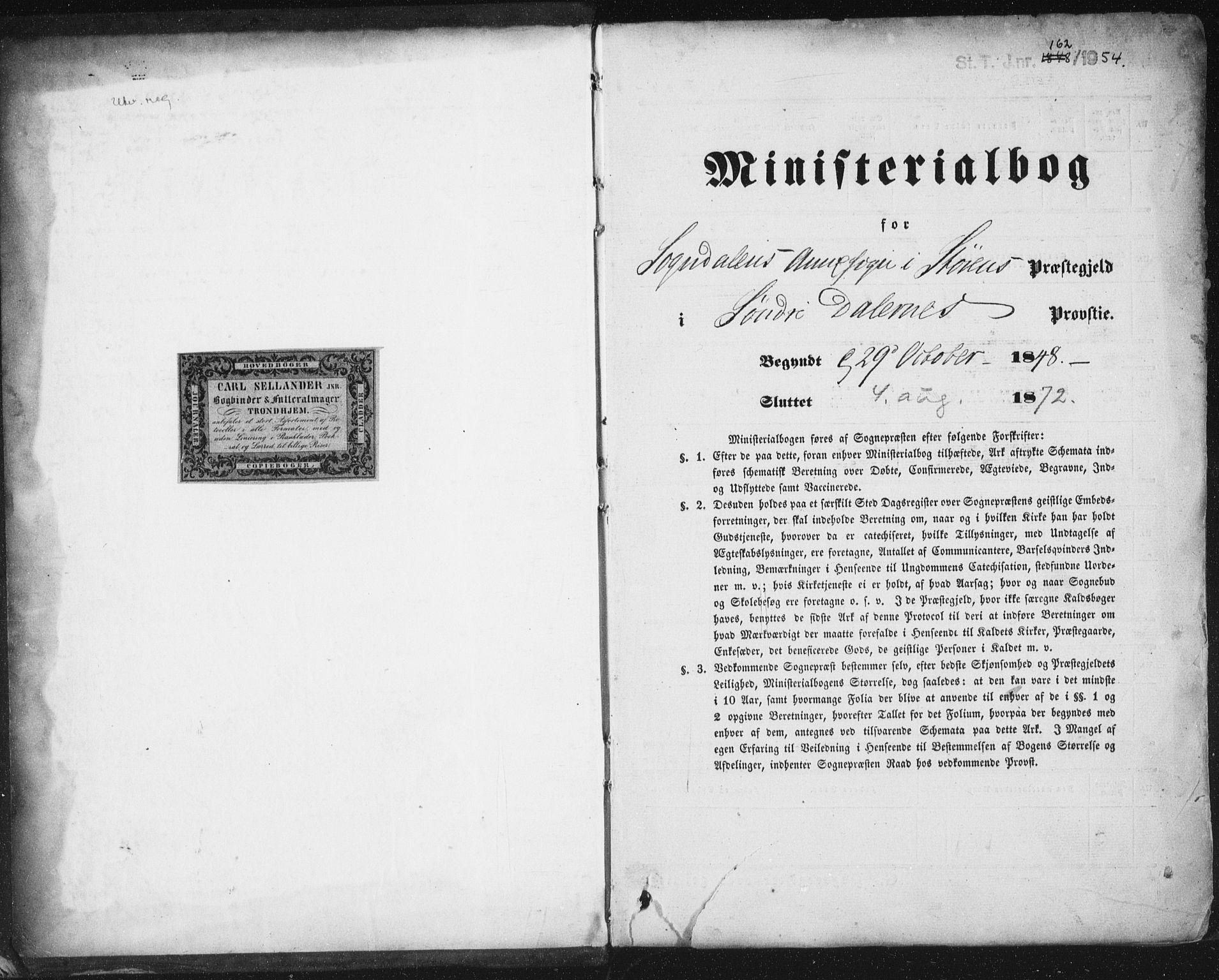 SAT, Ministerialprotokoller, klokkerbøker og fødselsregistre - Sør-Trøndelag, 689/L1038: Ministerialbok nr. 689A03, 1848-1872