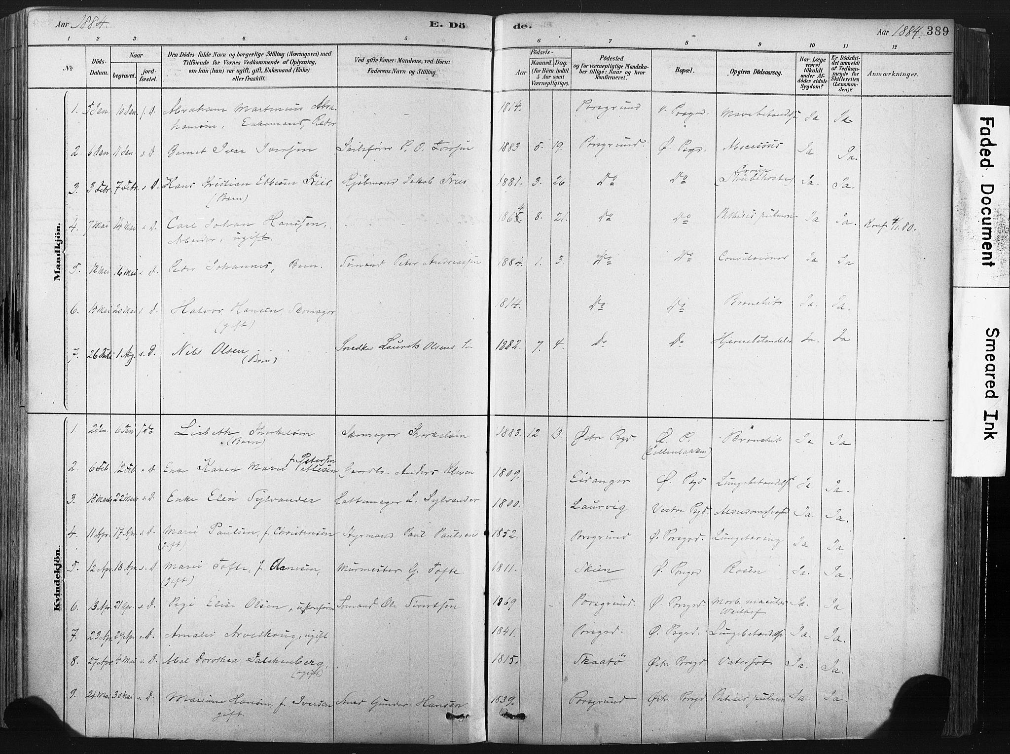SAKO, Porsgrunn kirkebøker , F/Fa/L0008: Ministerialbok nr. 8, 1878-1895, s. 389