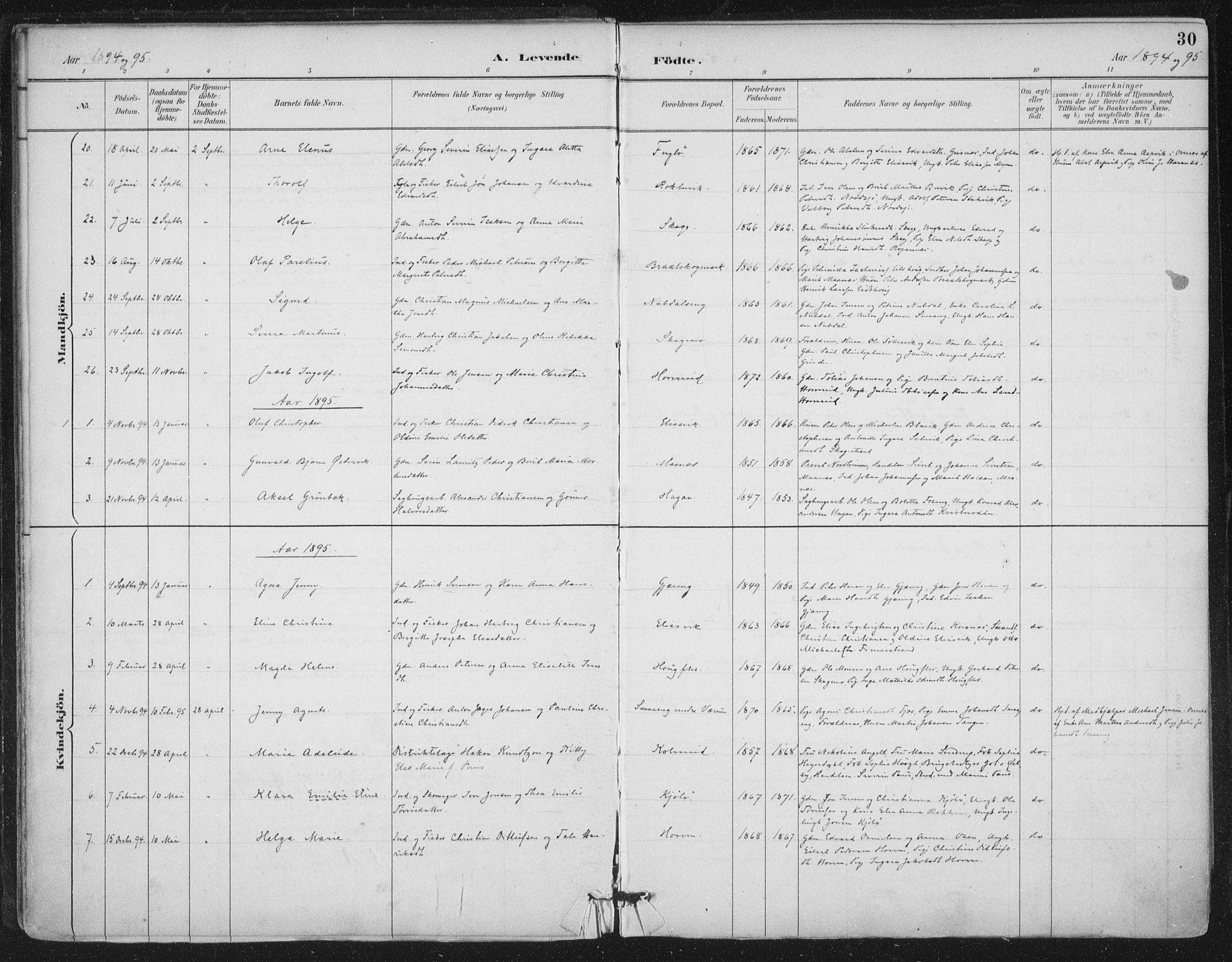 SAT, Ministerialprotokoller, klokkerbøker og fødselsregistre - Nord-Trøndelag, 780/L0644: Ministerialbok nr. 780A08, 1886-1903, s. 30