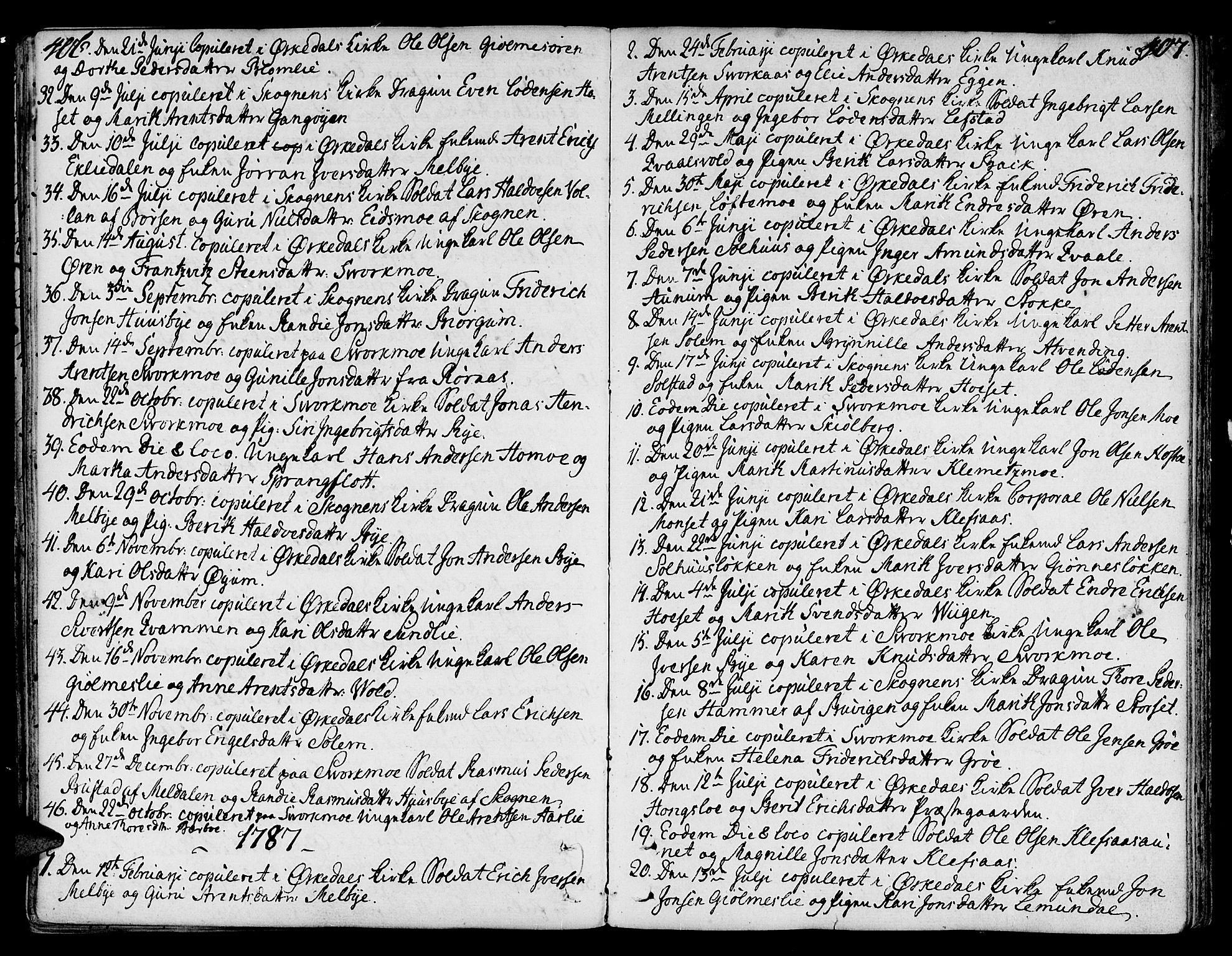 SAT, Ministerialprotokoller, klokkerbøker og fødselsregistre - Sør-Trøndelag, 668/L0802: Ministerialbok nr. 668A02, 1776-1799, s. 406-407