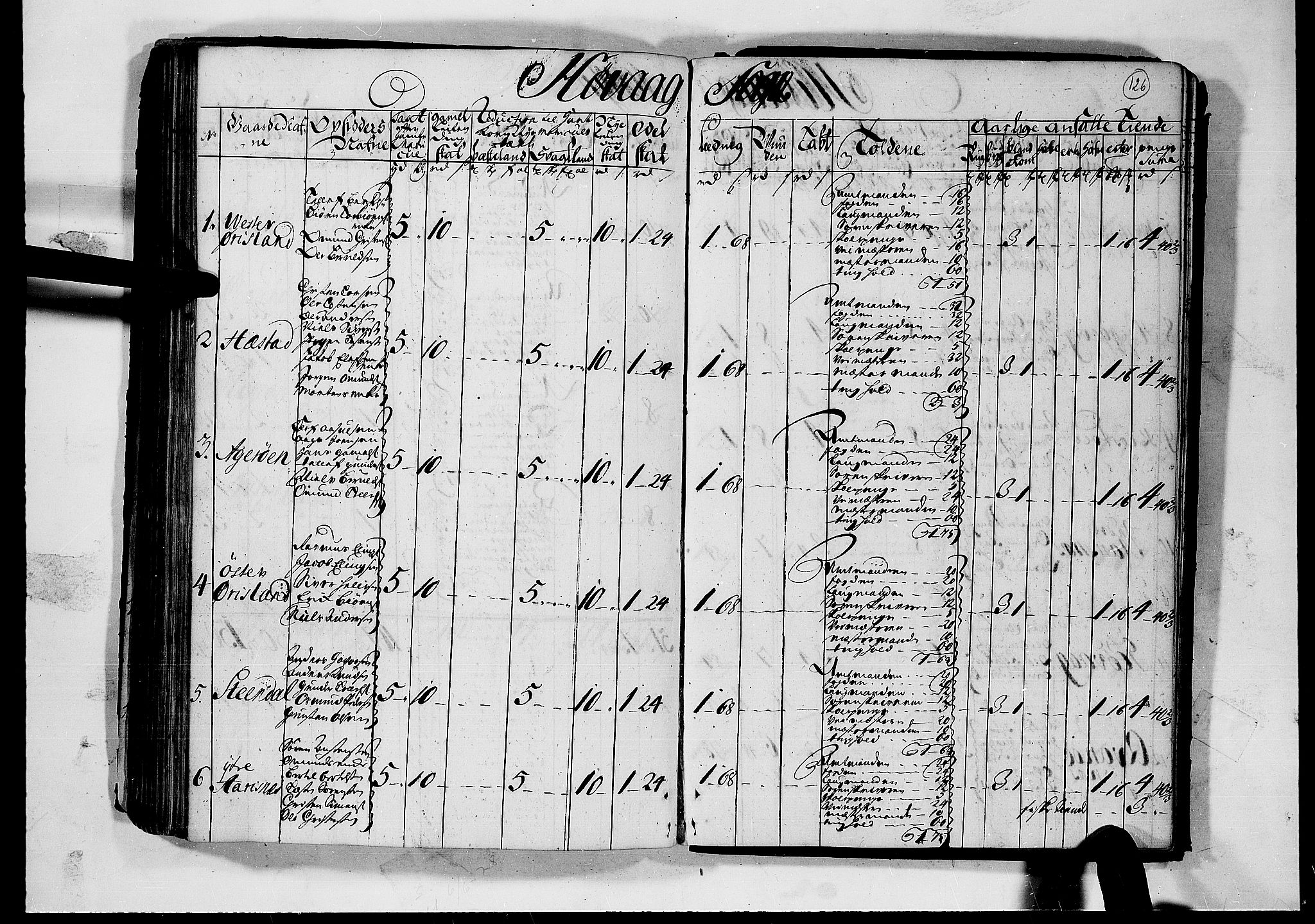 RA, Rentekammeret inntil 1814, Realistisk ordnet avdeling, N/Nb/Nbf/L0124: Nedenes matrikkelprotokoll, 1723, s. 125b-126a