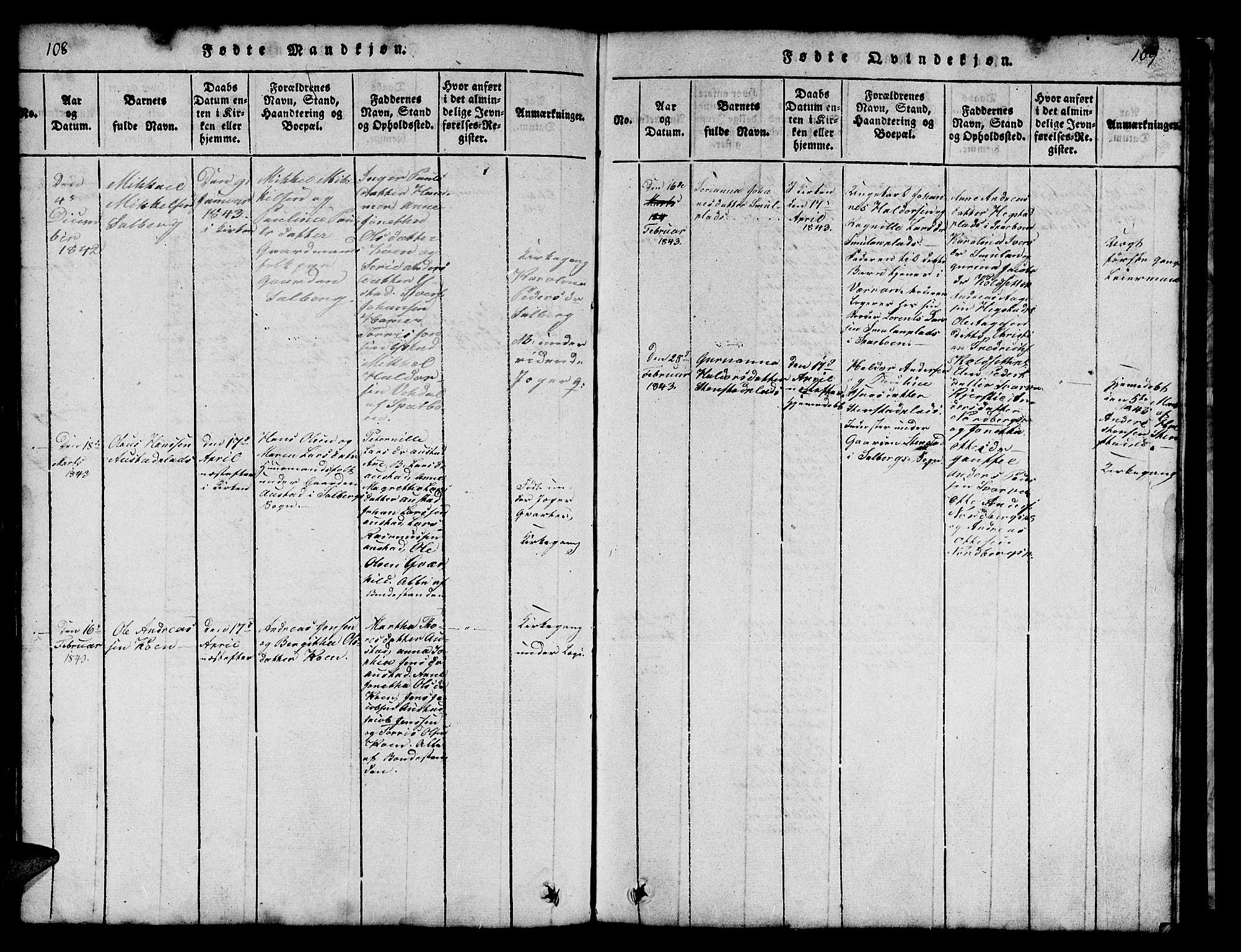 SAT, Ministerialprotokoller, klokkerbøker og fødselsregistre - Nord-Trøndelag, 731/L0310: Klokkerbok nr. 731C01, 1816-1874, s. 108-109
