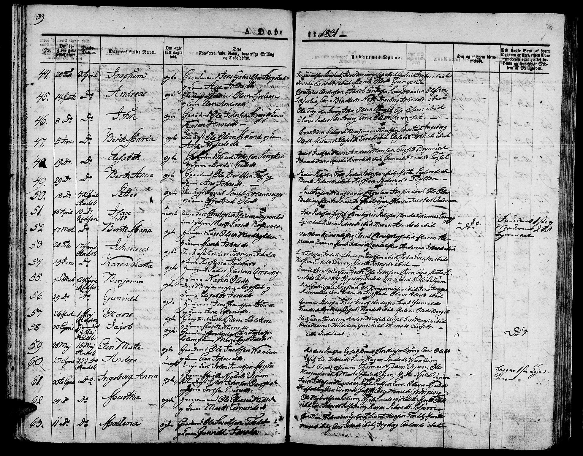 SAT, Ministerialprotokoller, klokkerbøker og fødselsregistre - Sør-Trøndelag, 646/L0609: Ministerialbok nr. 646A07, 1826-1838, s. 39