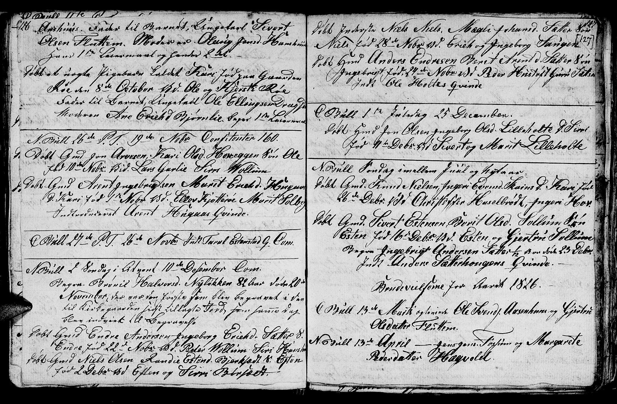 SAT, Ministerialprotokoller, klokkerbøker og fødselsregistre - Sør-Trøndelag, 689/L1042: Klokkerbok nr. 689C01, 1812-1841, s. 126-127
