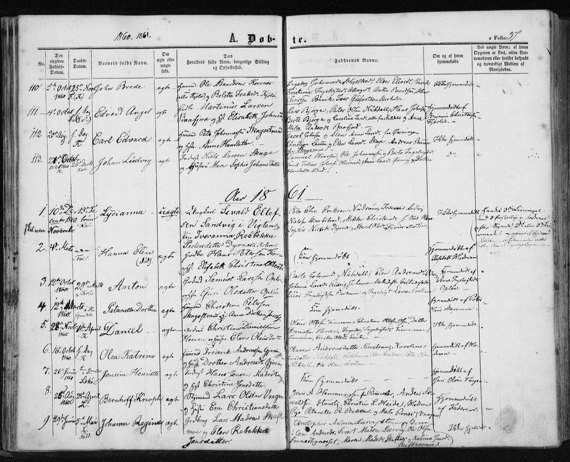 SAT, Ministerialprotokoller, klokkerbøker og fødselsregistre - Nord-Trøndelag, 780/L0641: Ministerialbok nr. 780A06, 1857-1874, s. 37