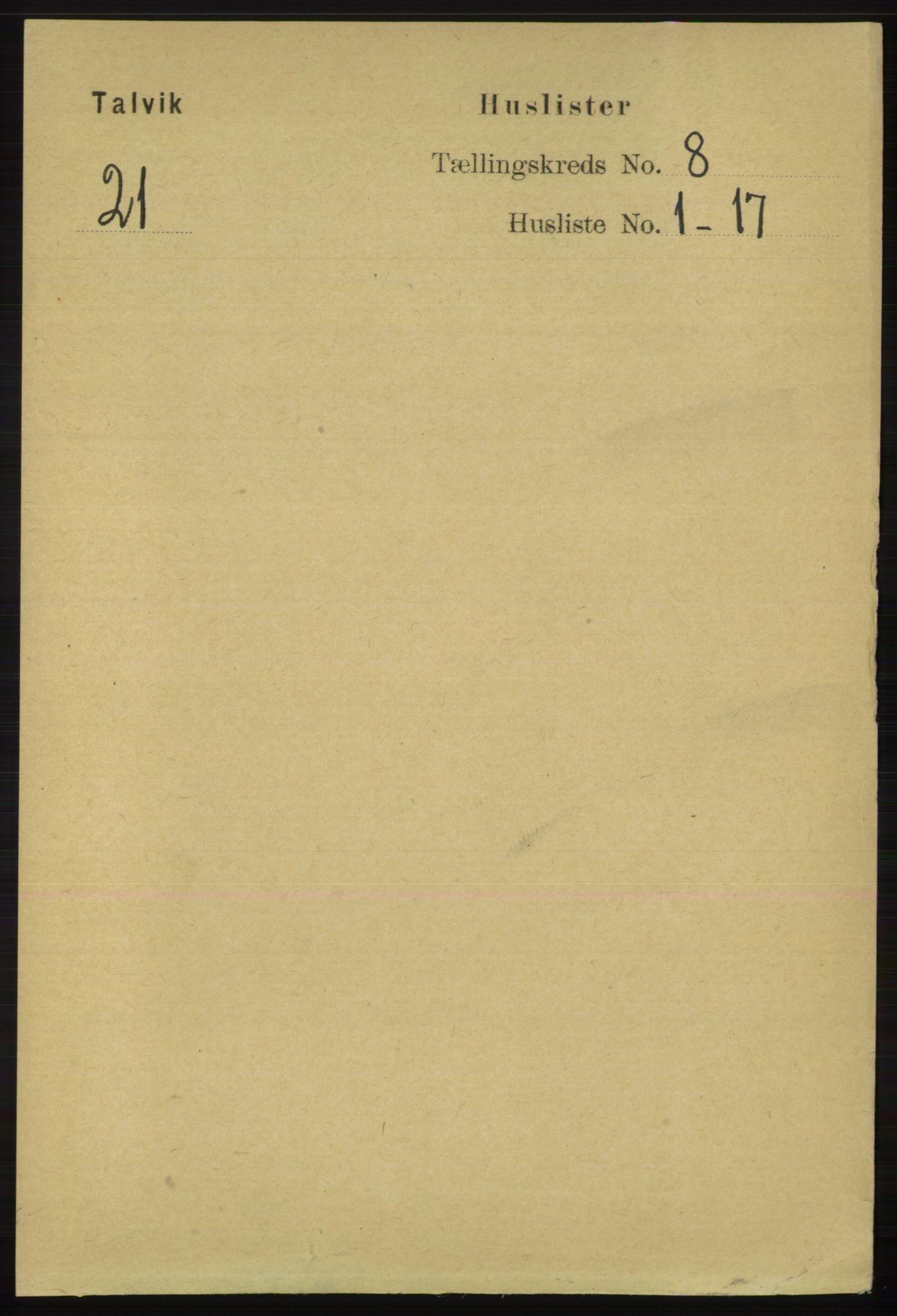 RA, Folketelling 1891 for 2013 Talvik herred, 1891, s. 2031
