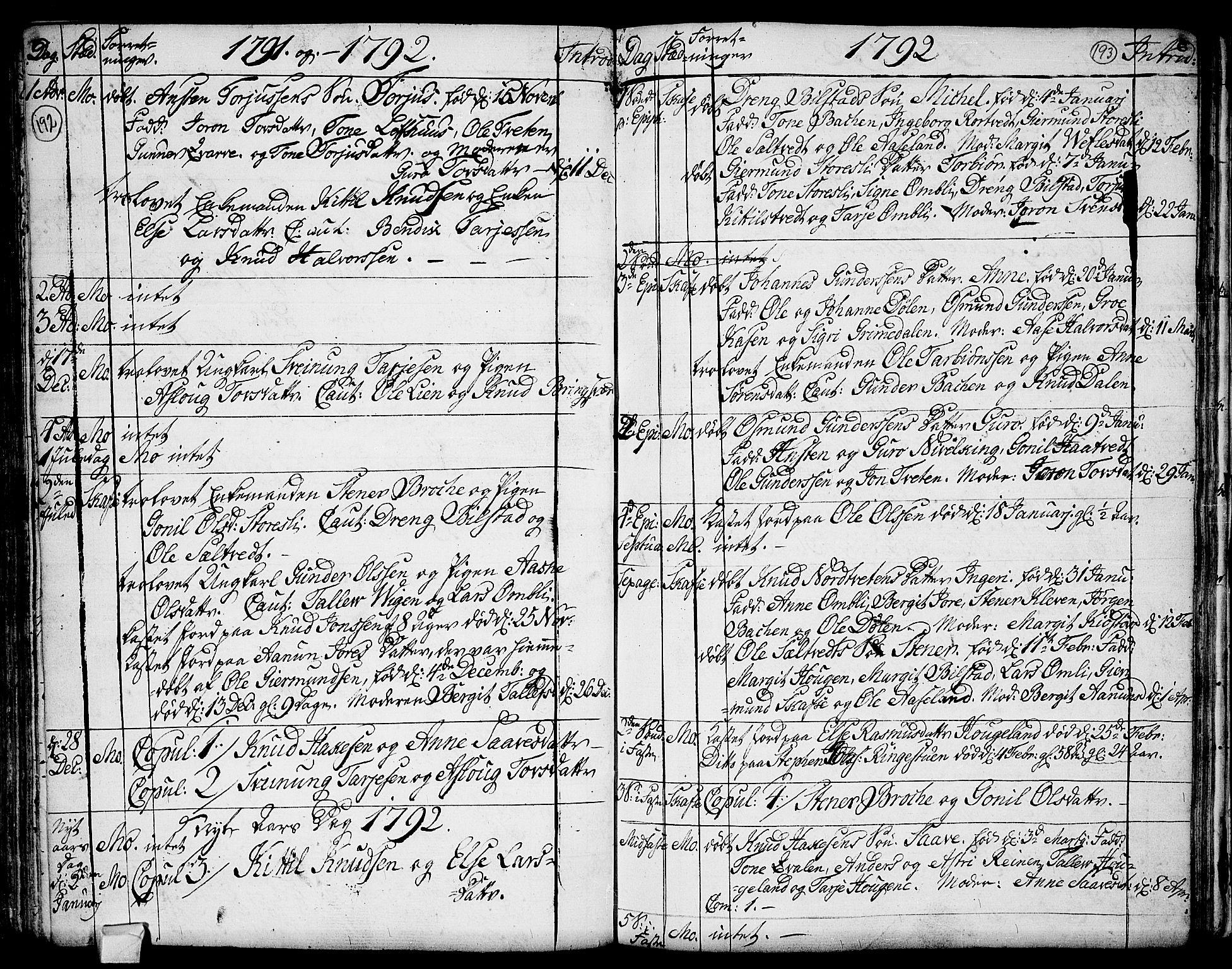 SAKO, Mo kirkebøker, F/Fa/L0002: Ministerialbok nr. I 2, 1766-1799, s. 192-193