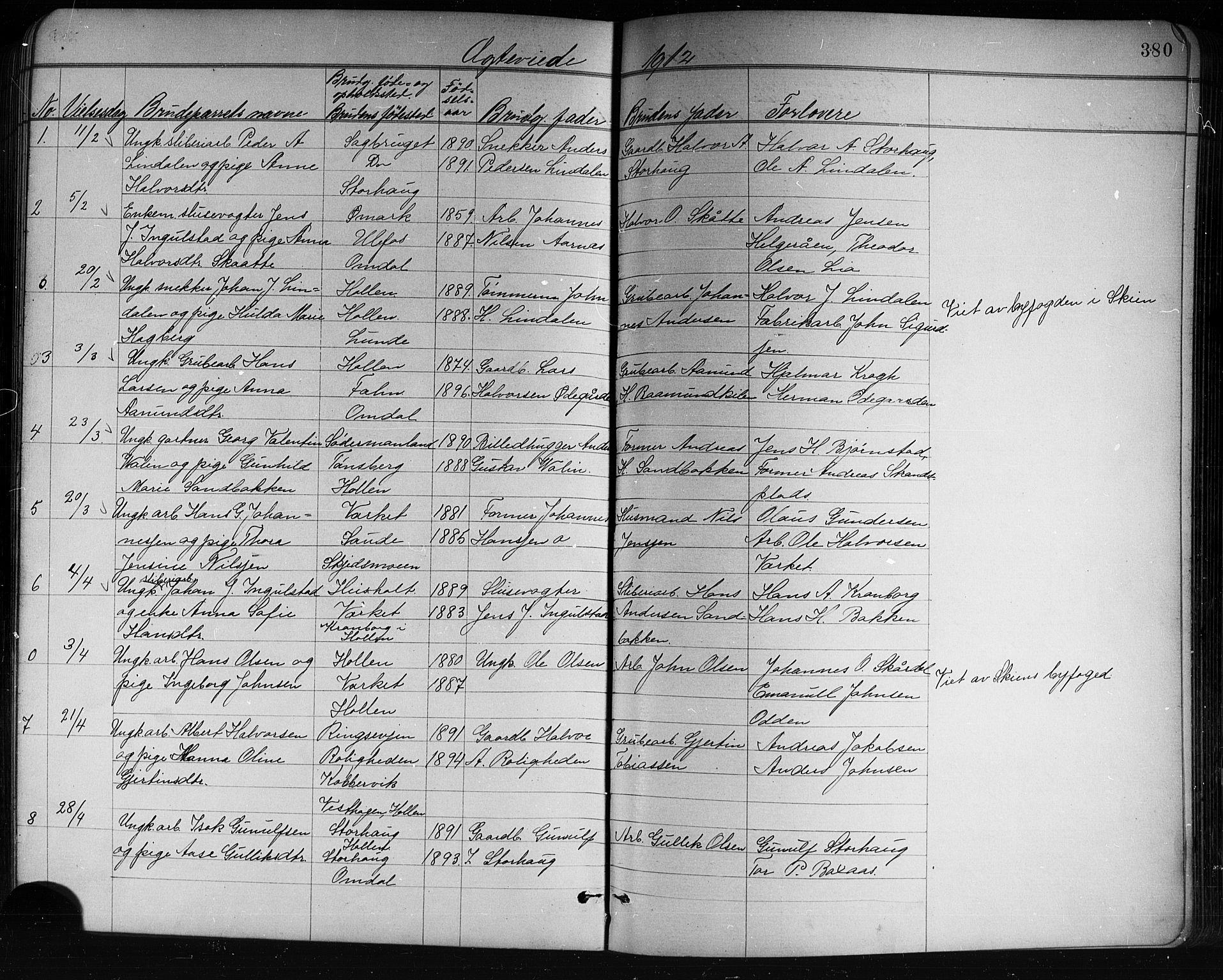 SAKO, Holla kirkebøker, G/Ga/L0005: Klokkerbok nr. I 5, 1891-1917, s. 380