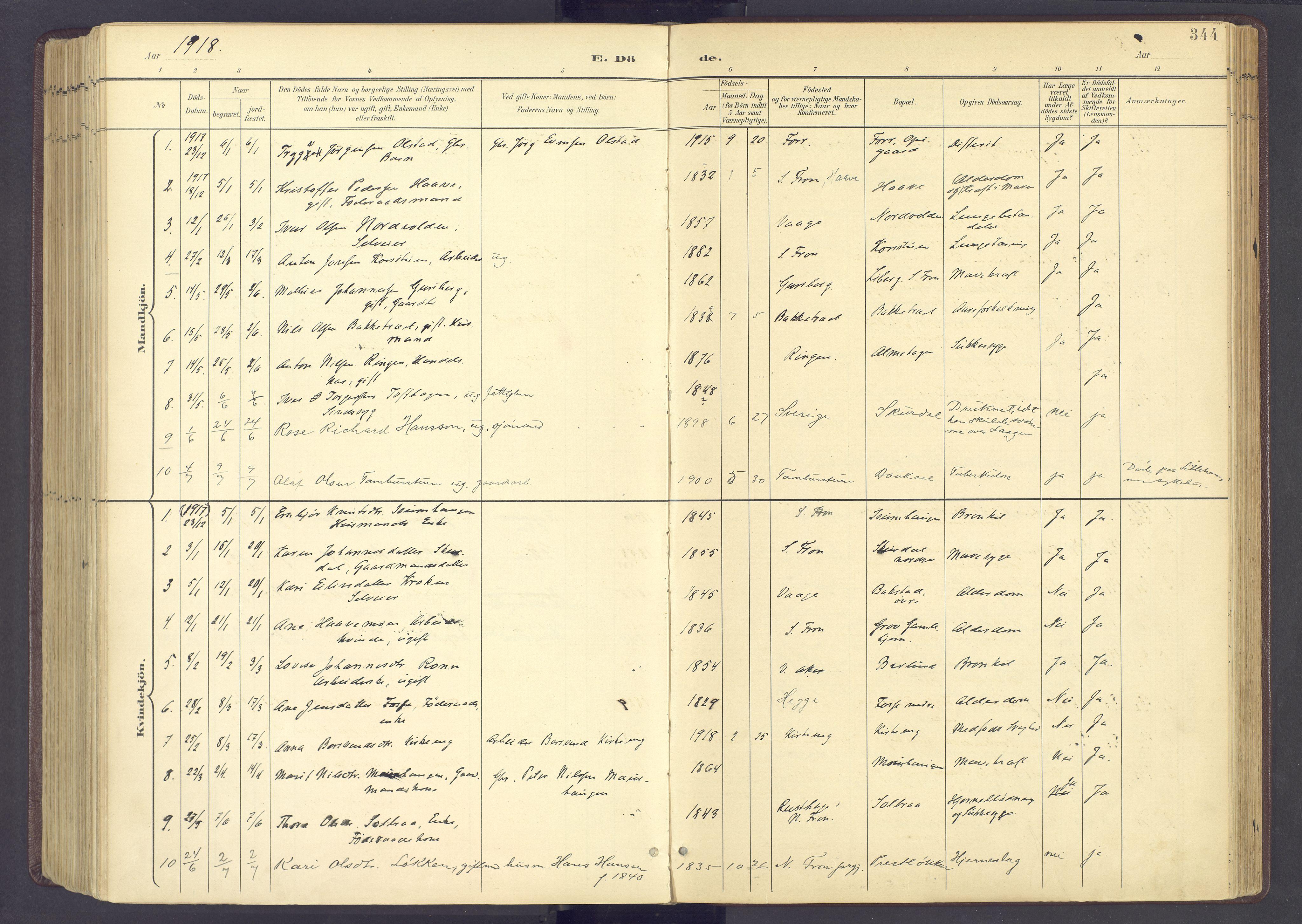 SAH, Sør-Fron prestekontor, H/Ha/Haa/L0004: Ministerialbok nr. 4, 1898-1919, s. 344
