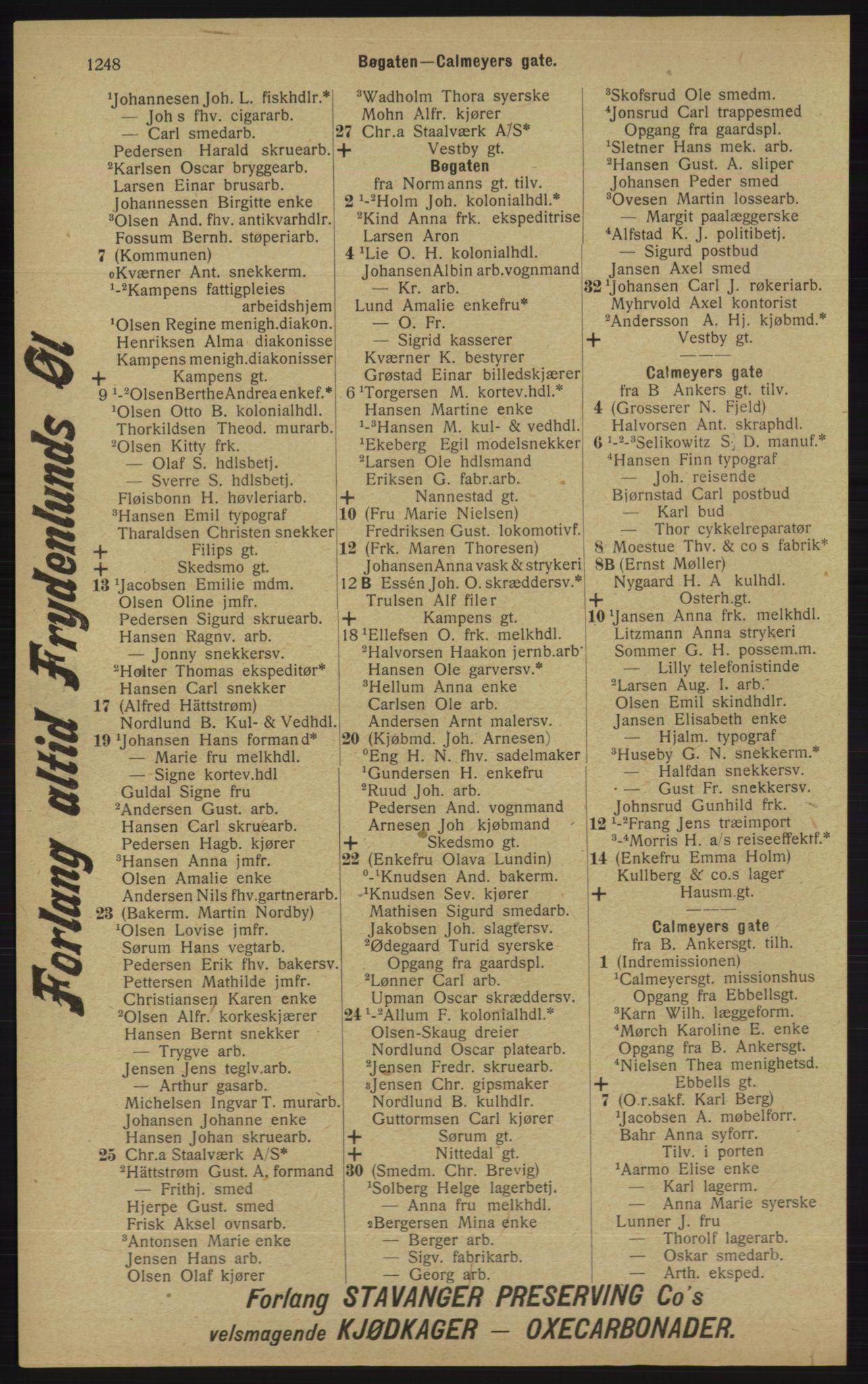 RA, Kristiania adressebok (publikasjon)*, 1913, s. 1248