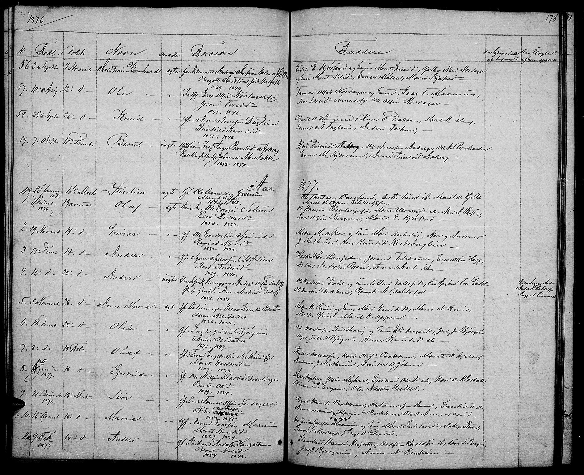 SAH, Nord-Aurdal prestekontor, Klokkerbok nr. 2, 1842-1877, s. 178