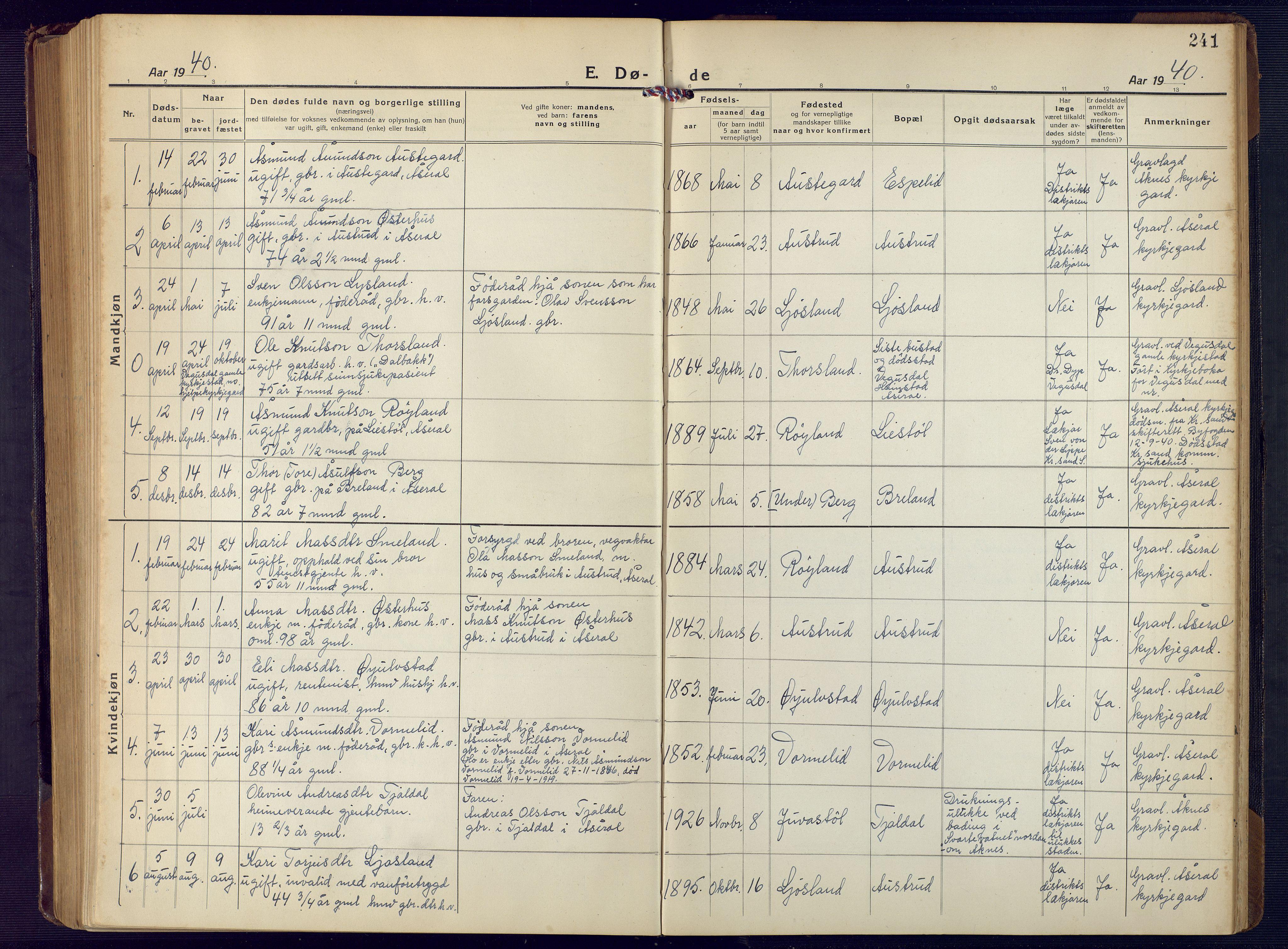 SAK, Åseral sokneprestkontor, F/Fb/L0004: Klokkerbok nr. B 4, 1920-1946, s. 241