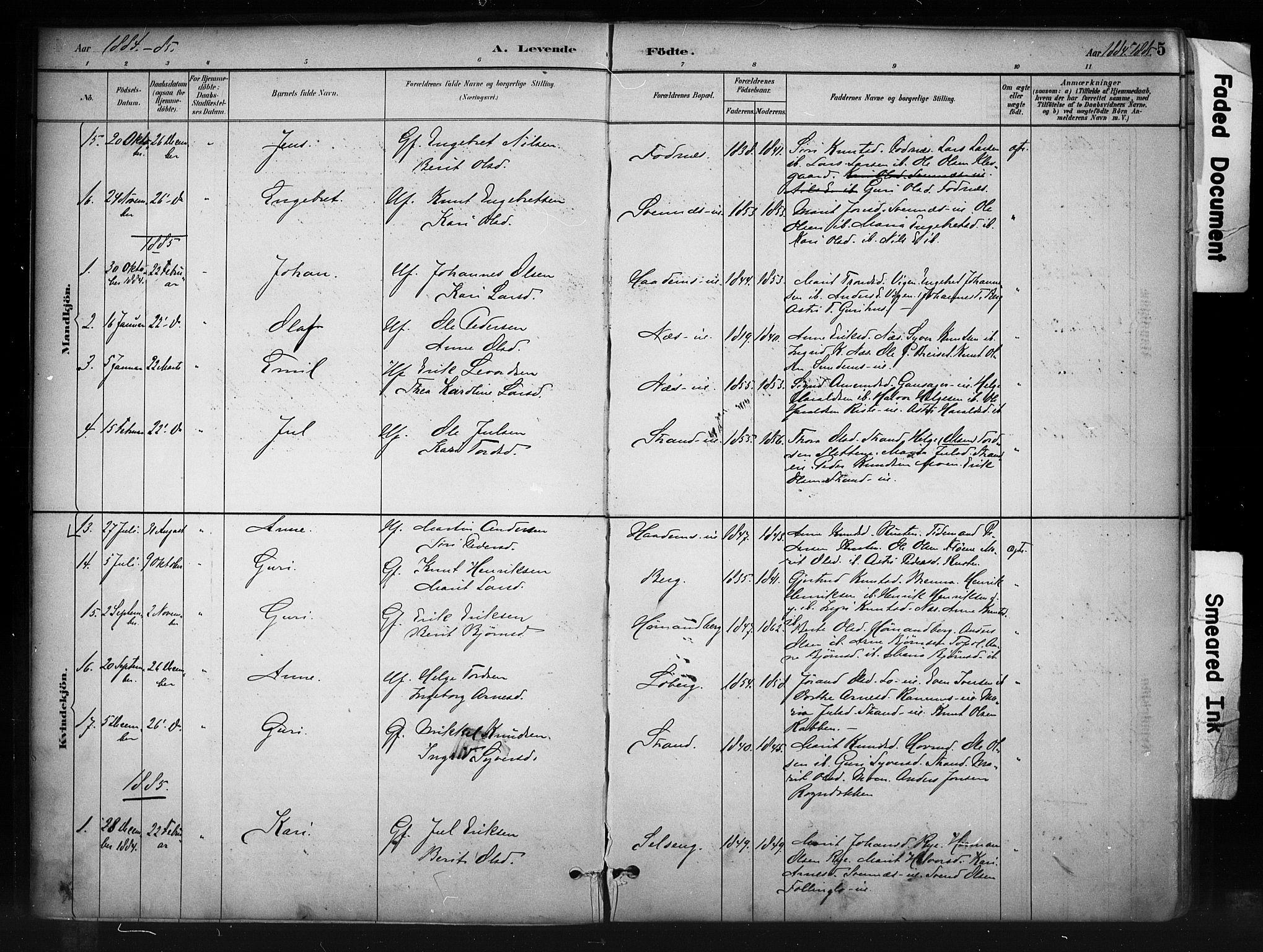 SAH, Nord-Aurdal prestekontor, Ministerialbok nr. 10, 1883-1896, s. 5