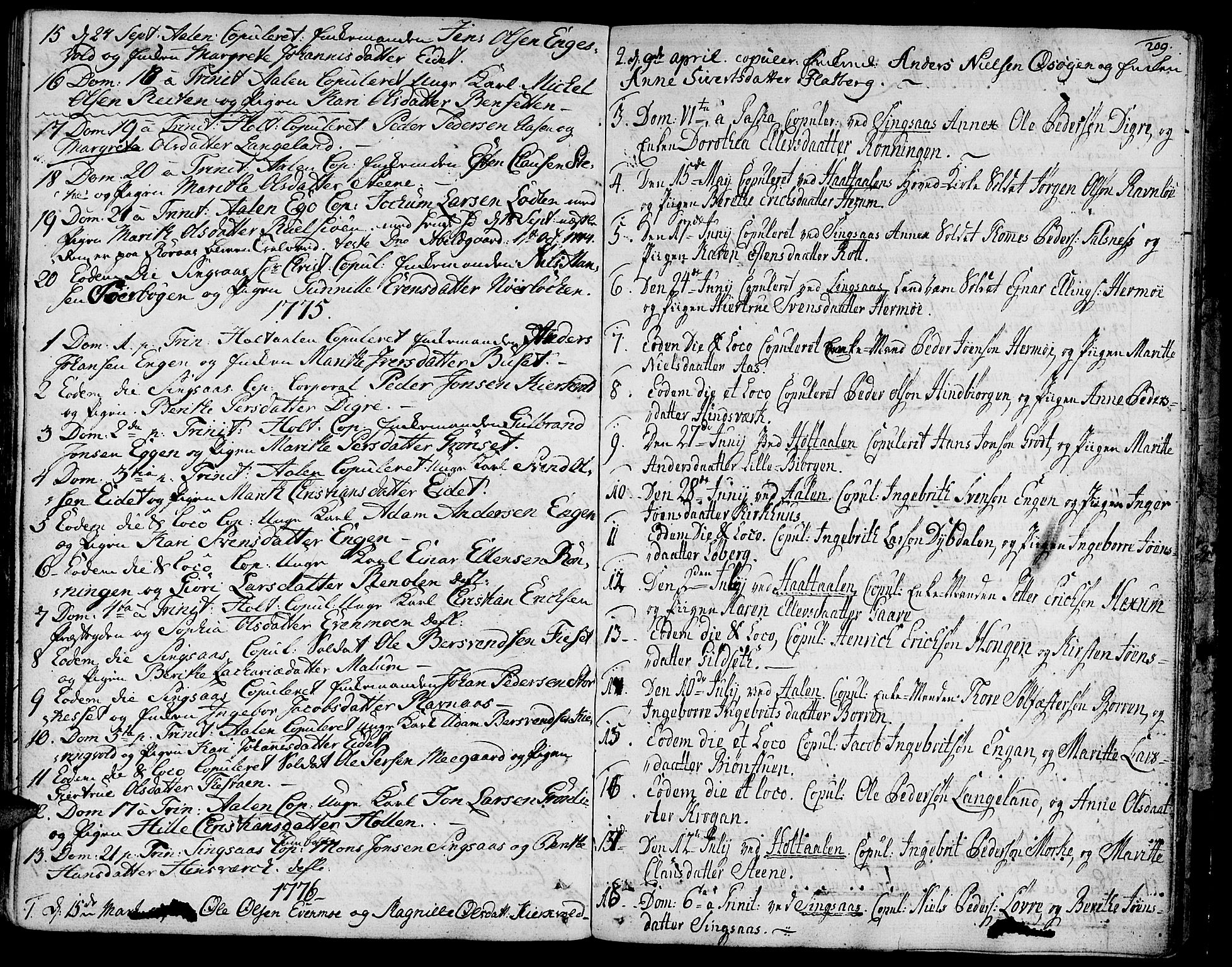 SAT, Ministerialprotokoller, klokkerbøker og fødselsregistre - Sør-Trøndelag, 685/L0952: Ministerialbok nr. 685A01, 1745-1804, s. 209