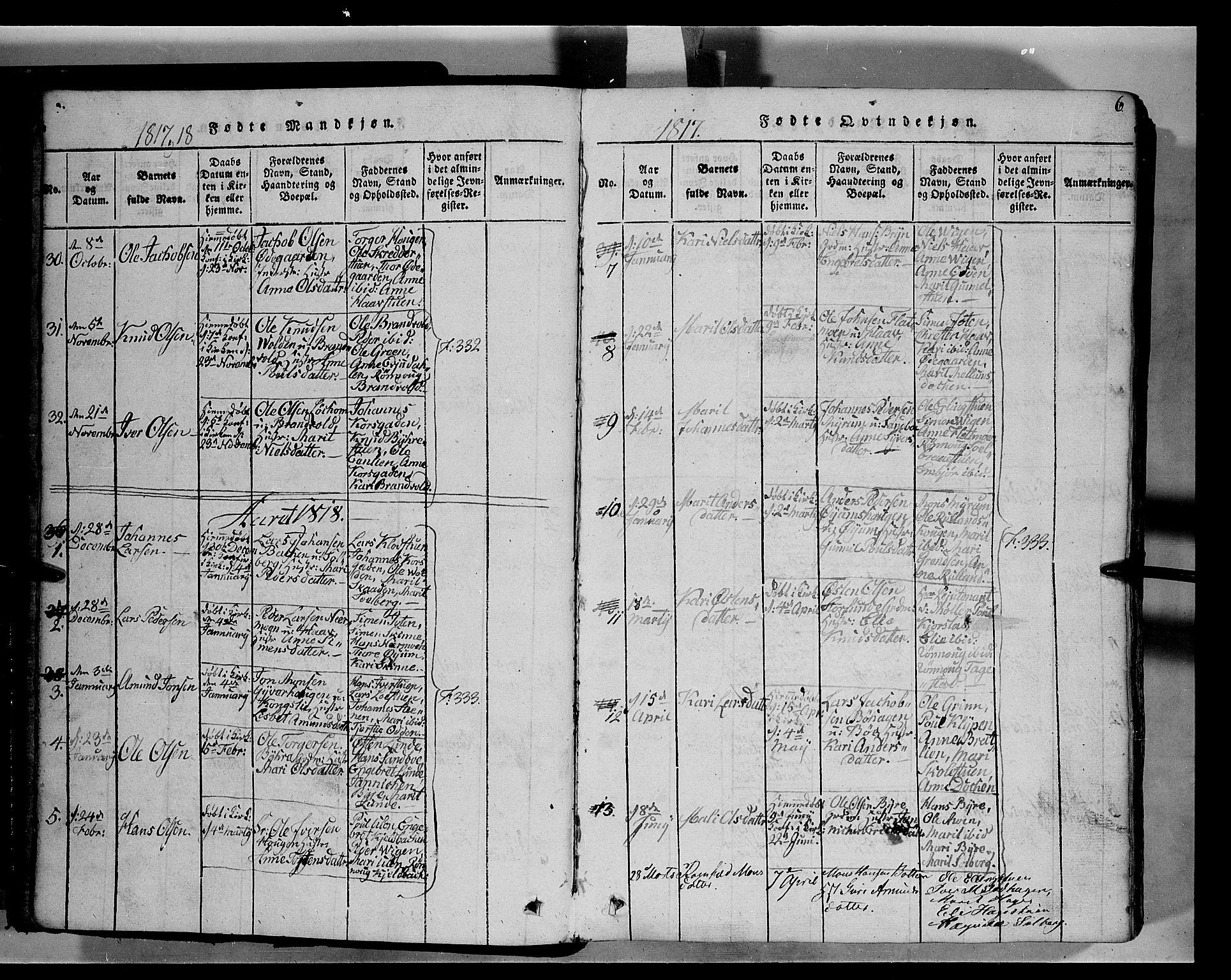 SAH, Fron prestekontor, H/Ha/Hab/L0004: Klokkerbok nr. 4, 1816-1850, s. 6