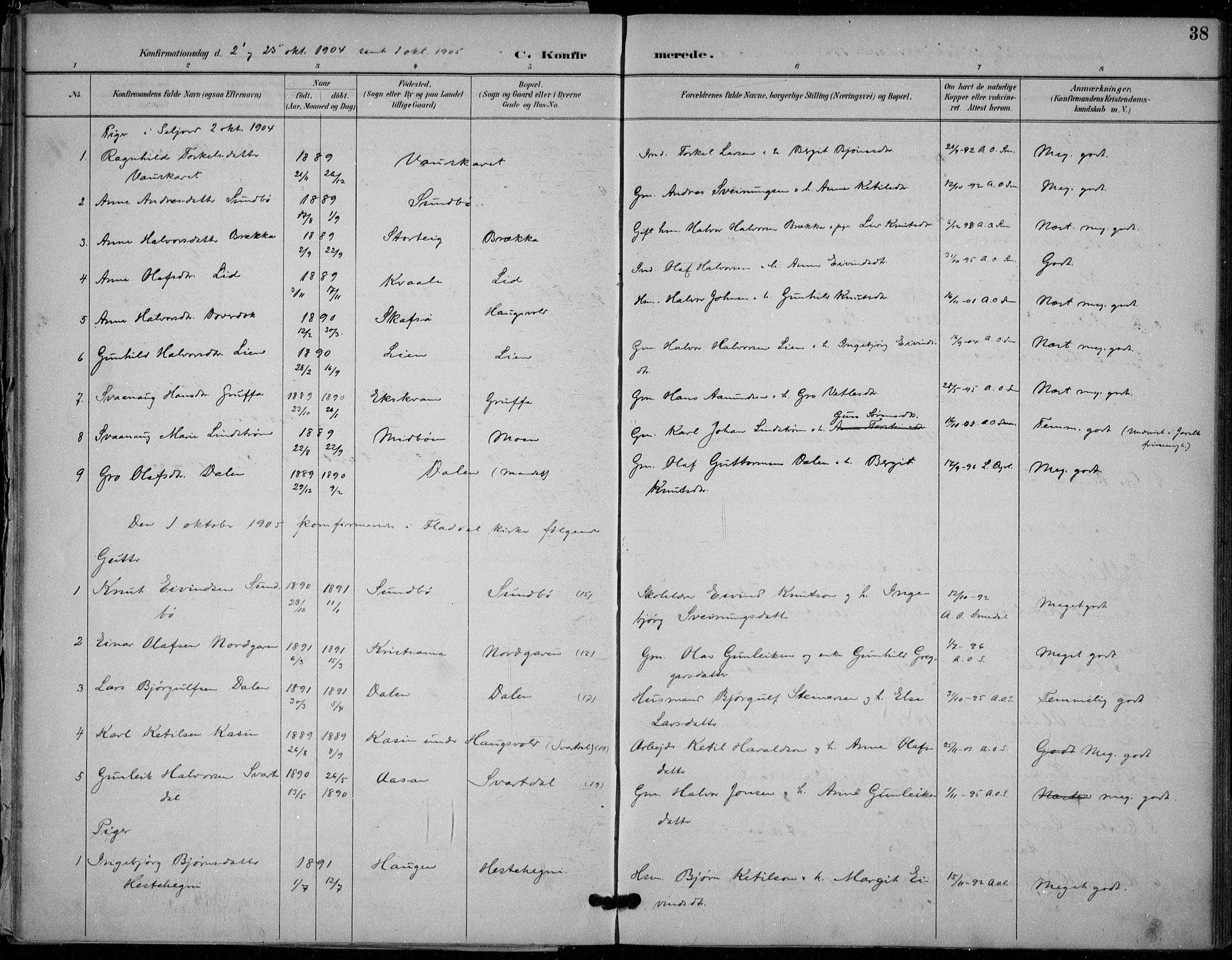 SAKO, Seljord kirkebøker, F/Fb/L0002: Ministerialbok nr. II 2, 1887-1917, s. 38